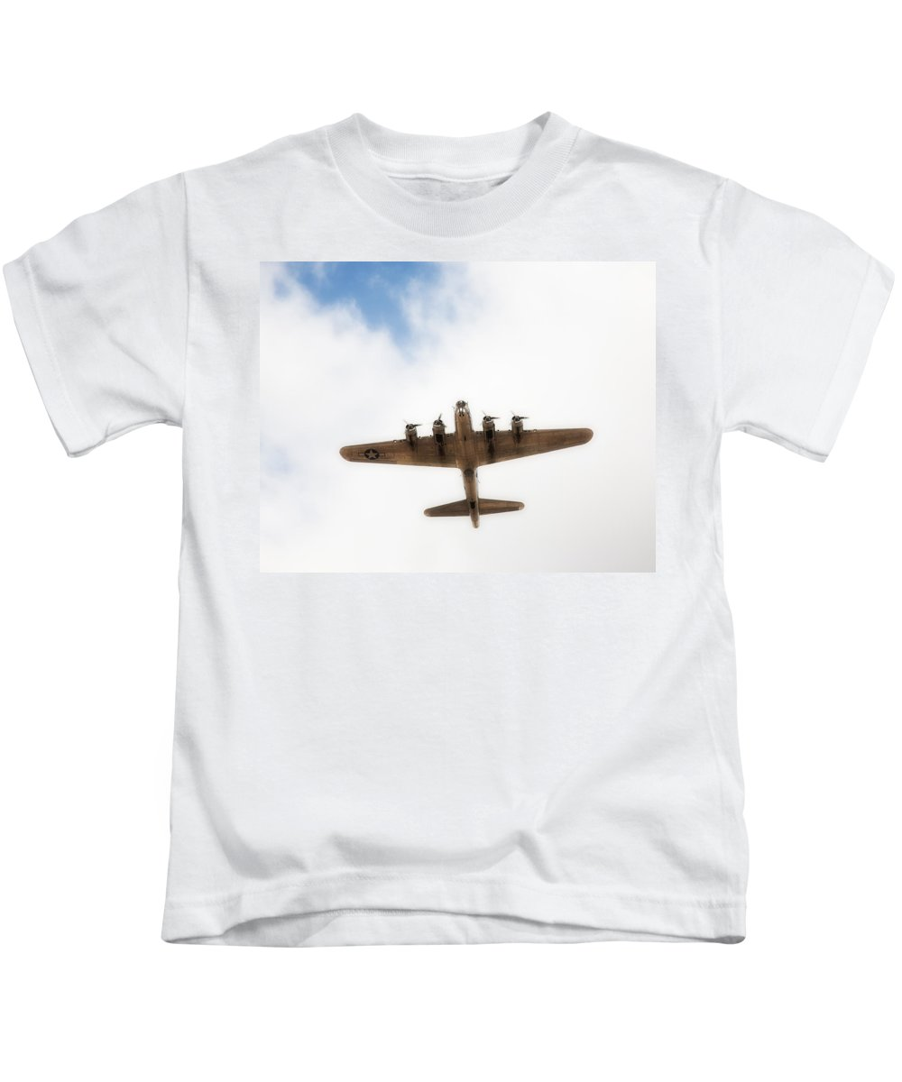 B-17 Kids T-Shirt featuring the photograph B-17 Flyover by Hugh Smith