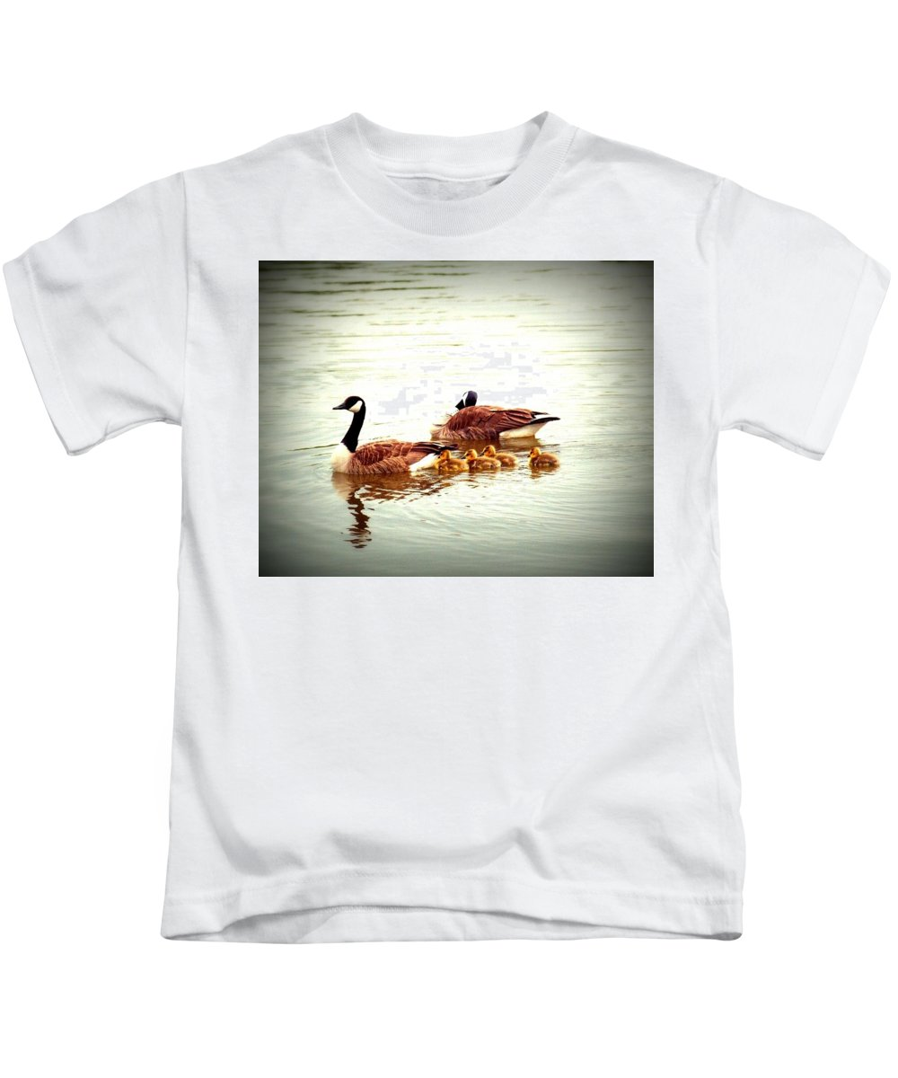 Water Fowl Kids T-Shirt featuring the photograph Canada Geese Family by Elaine Burlew