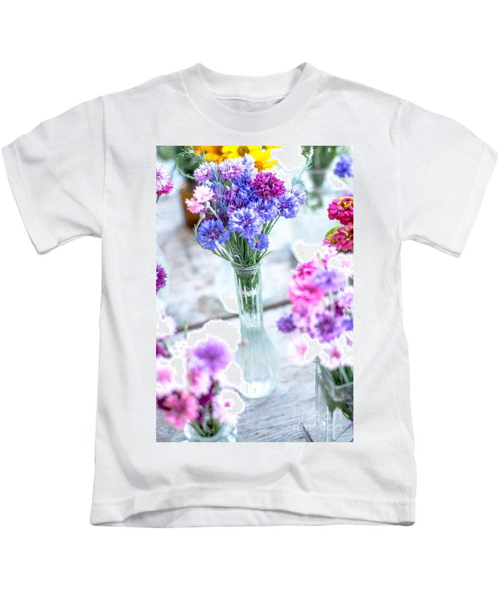 Soft Kids T-Shirt featuring the photograph Bachelor Flowers by Cheryl Baxter