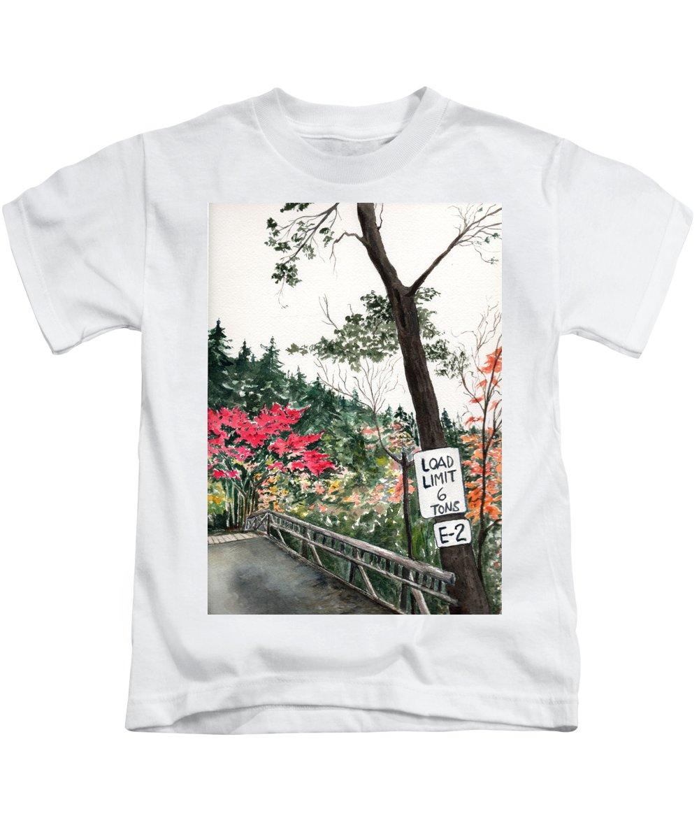 Watercolor Kids T-Shirt featuring the painting Backwoods Bridge by Brenda Owen
