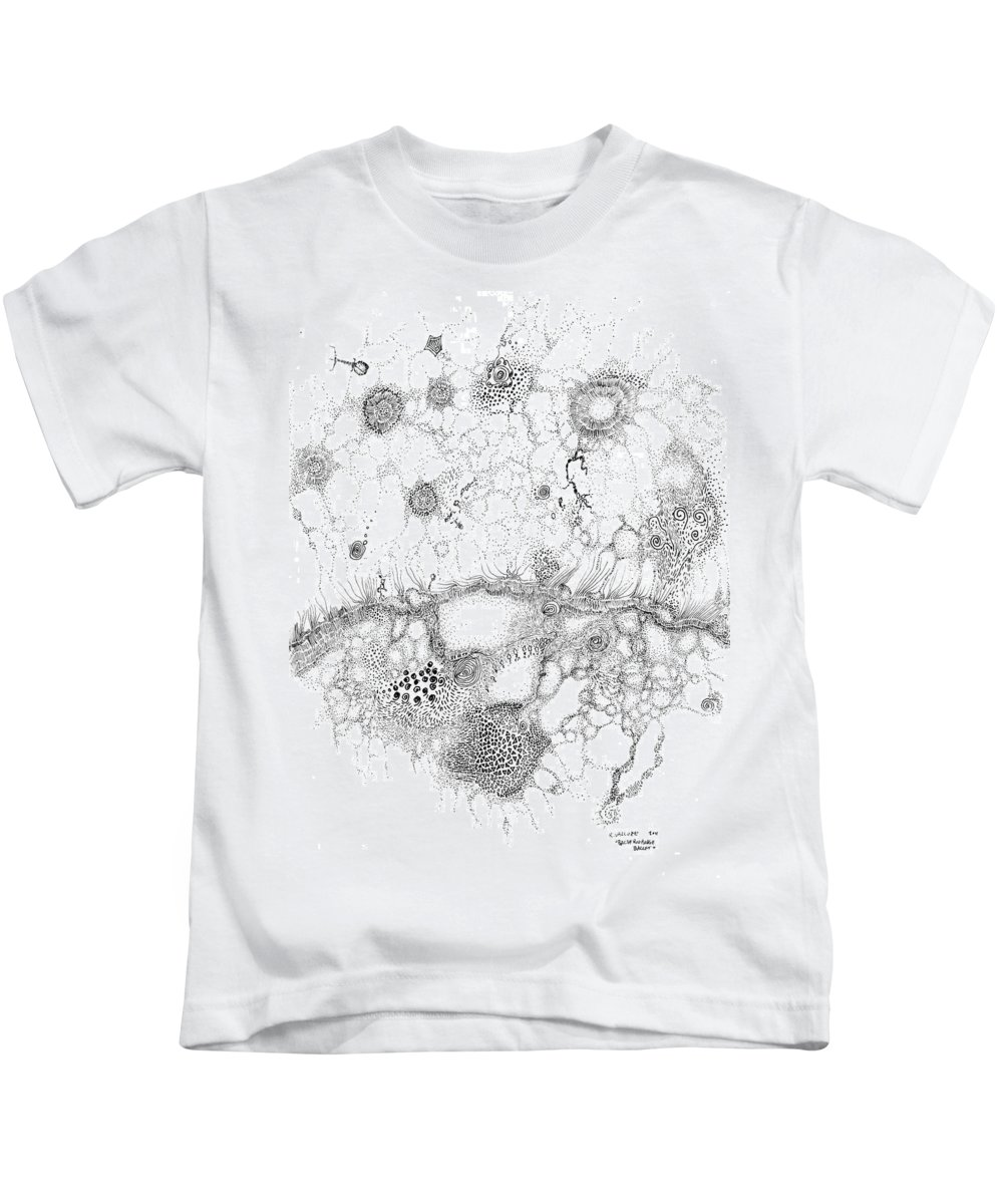 Bacteria Kids T-Shirt featuring the drawing Bacteriophage Ballet by Regina Valluzzi
