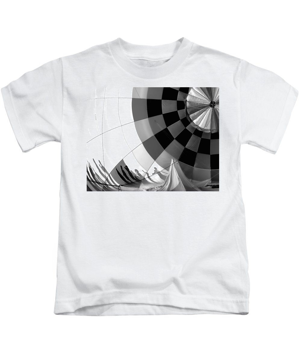 Black And White Kids T-Shirt featuring the photograph Balloon Shadows by Tina Baxter