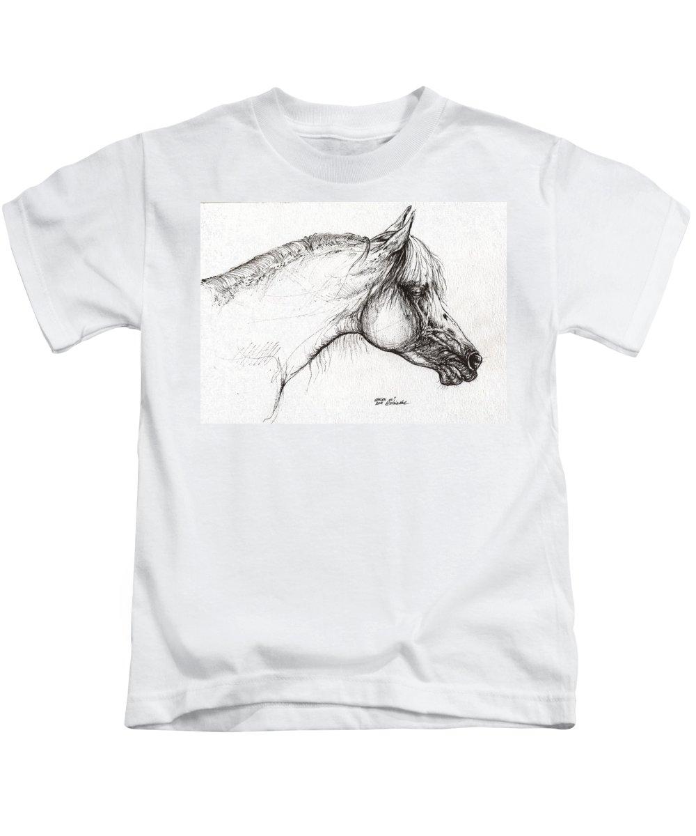 Horse Kids T-Shirt featuring the drawing Balon Polish Arabian Horse Portrait 3 by Angel Ciesniarska