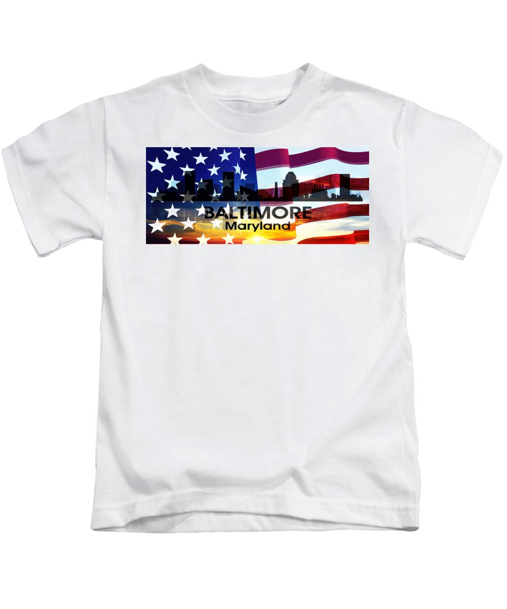 City Silhouette Kids T-Shirt featuring the digital art Baltimore Md Patriotic Large Cityscape by Angelina Vick