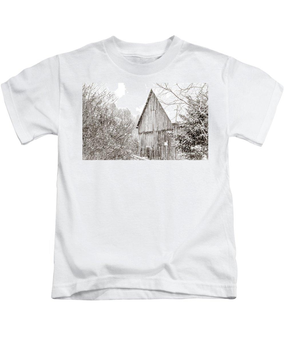 Kids T-Shirt featuring the photograph Barnyard Snowfall by Cheryl Baxter