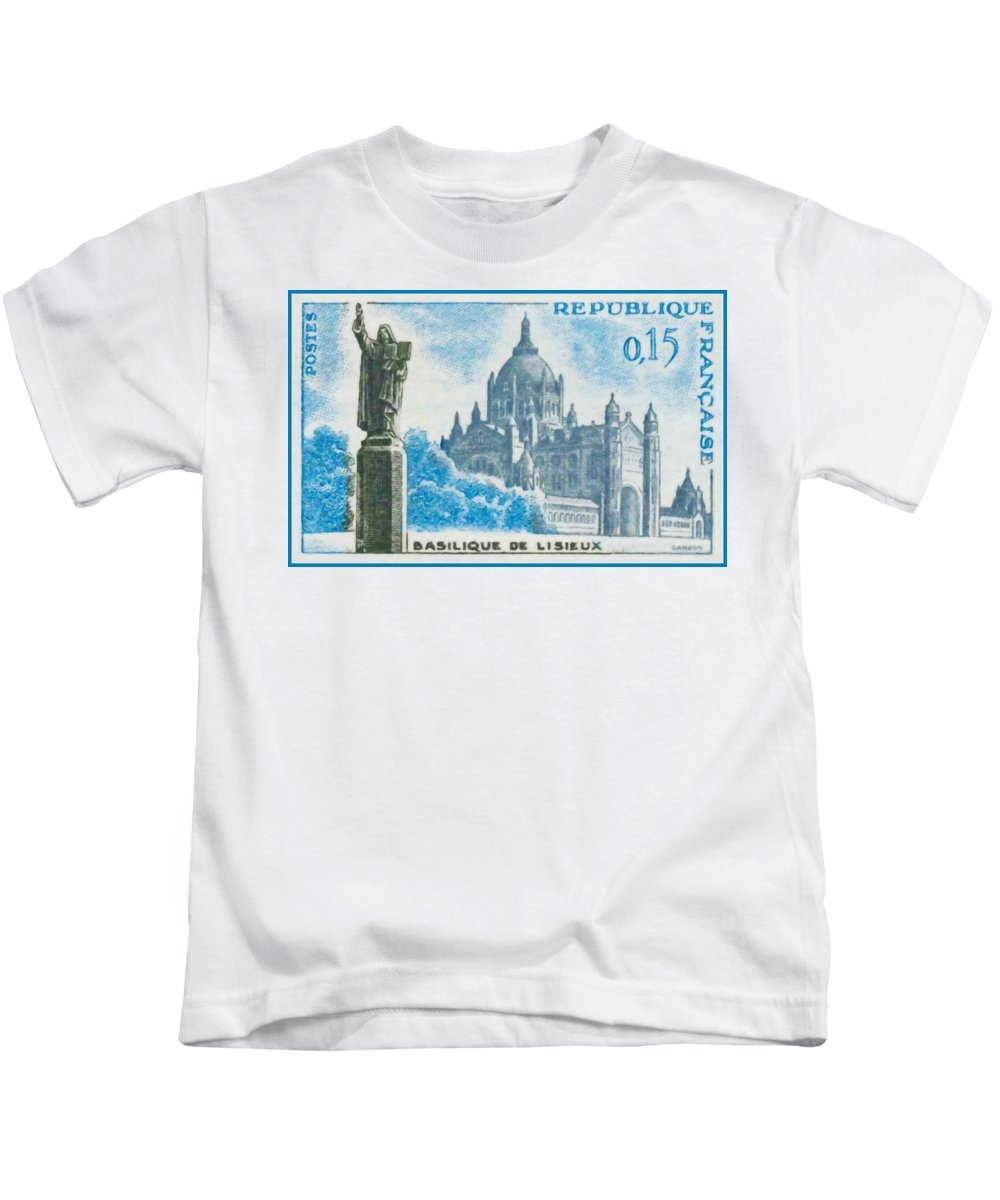 Heritage Kids T-Shirt featuring the painting Basilica Lisieux by Jeelan Clark