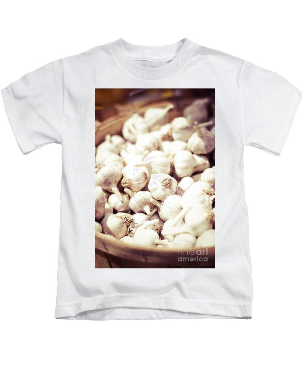 Beige Kids T-Shirt featuring the photograph Basket Of Garlic by Cheryl Baxter