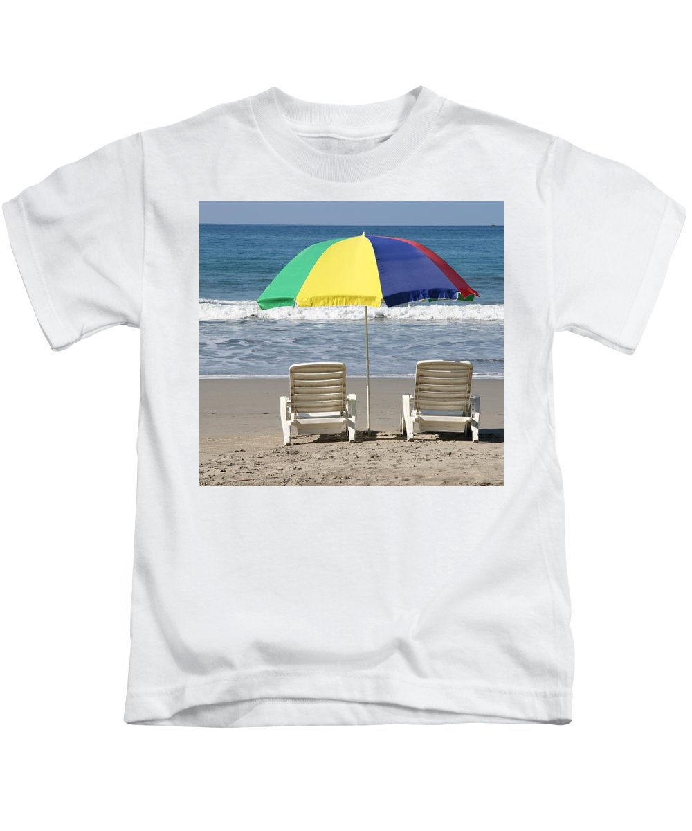 Beach Kids T-Shirt featuring the photograph Beach Umbrella by Cyril Brass