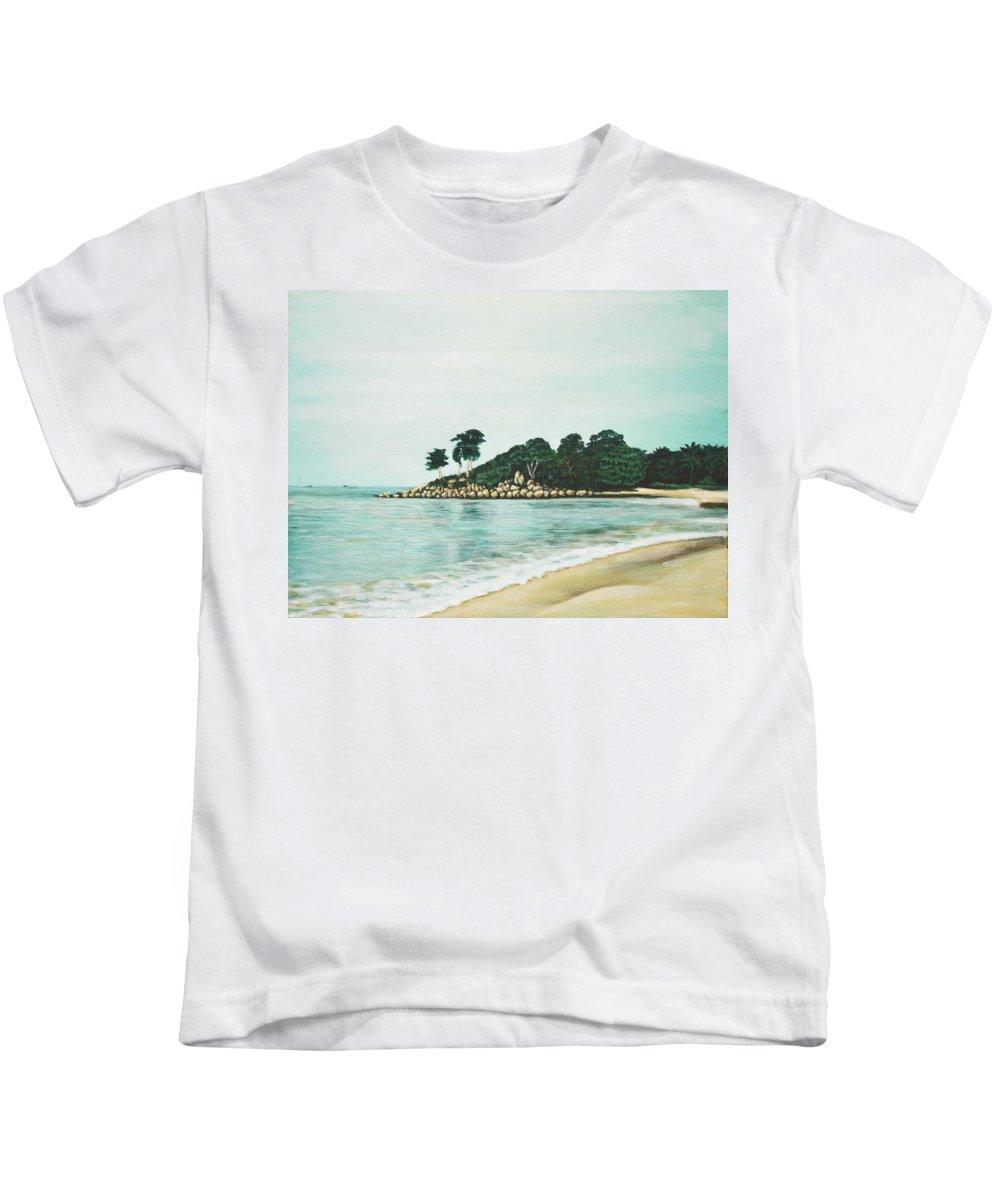 Beach Kids T-Shirt featuring the painting Beach by Usha Shantharam