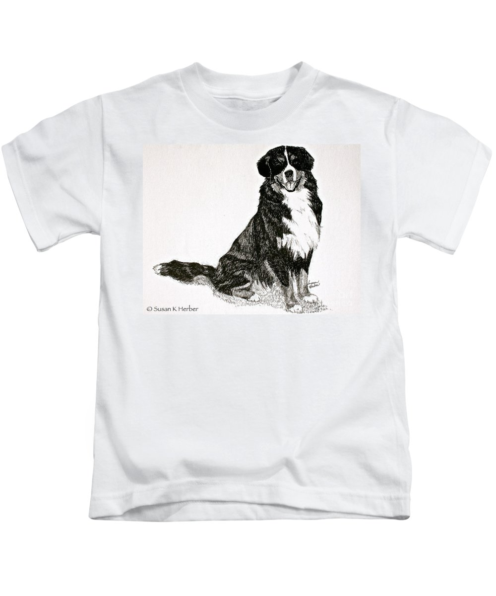 Bernese Mountain Dog Kids T-Shirt featuring the drawing Beaming Berner by Susan Herber