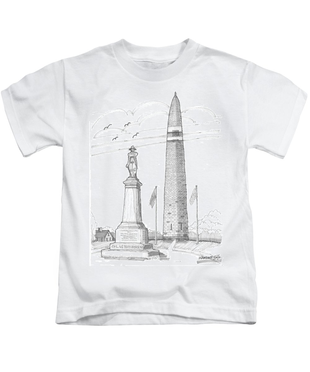 Bennington Battle Monument Kids T-Shirt featuring the drawing Bennington Battle Monuments by Richard Wambach