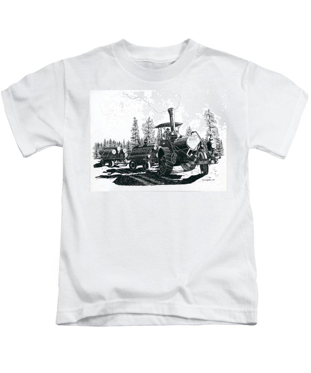 Best Steam Traction Engine Kids T-Shirt featuring the drawing Best Steam Traction Engine by Timothy Livingston