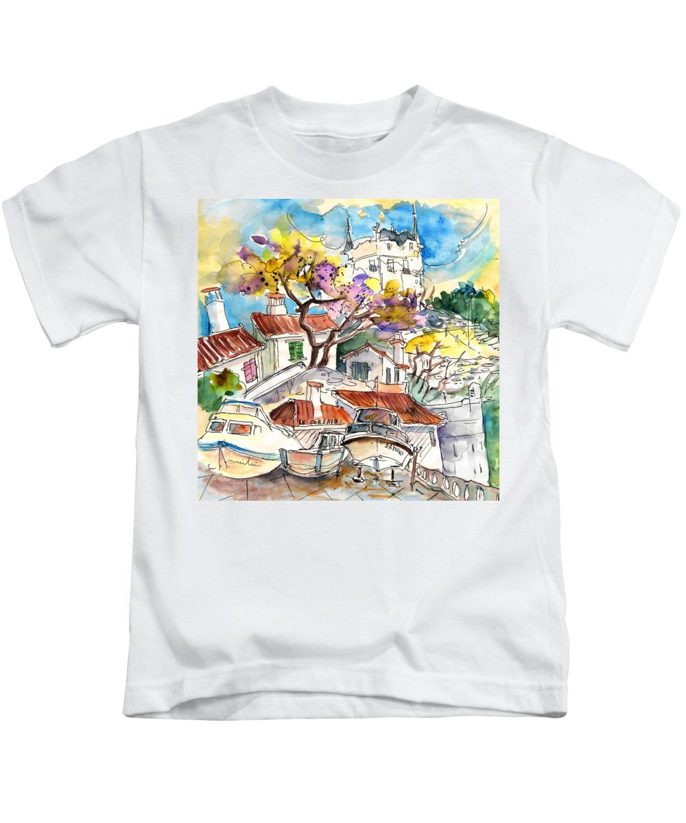 Travel Kids T-Shirt featuring the painting Biarritz 10 by Miki De Goodaboom