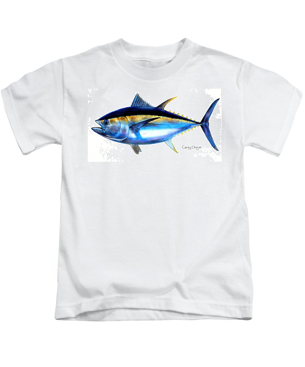 Tuna Kids T-Shirt featuring the painting Big Eye Tuna by Carey Chen