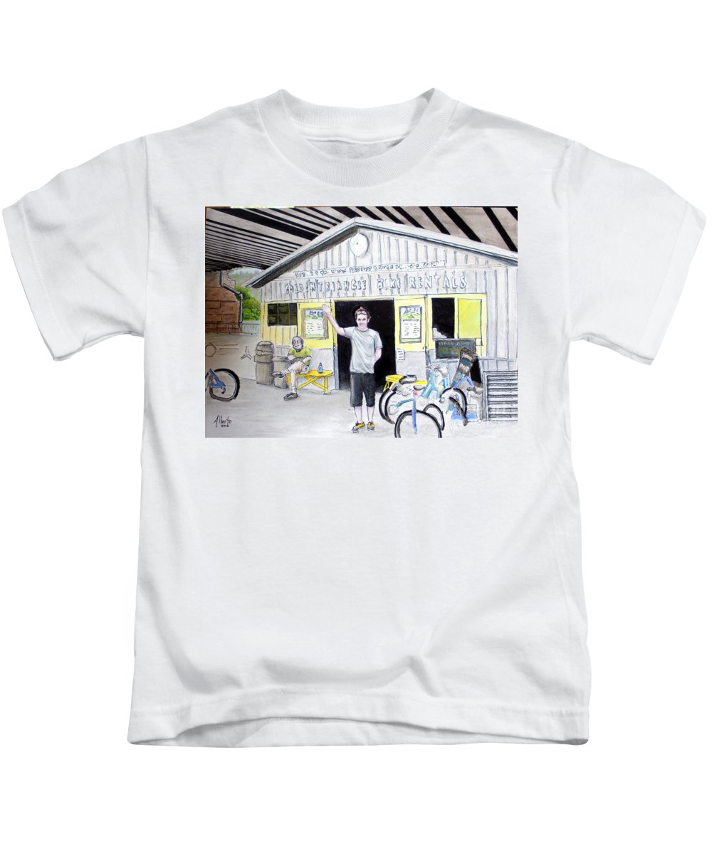 Bike Kids T-Shirt featuring the drawing Bike Pittsburgh by Albert Puskaric