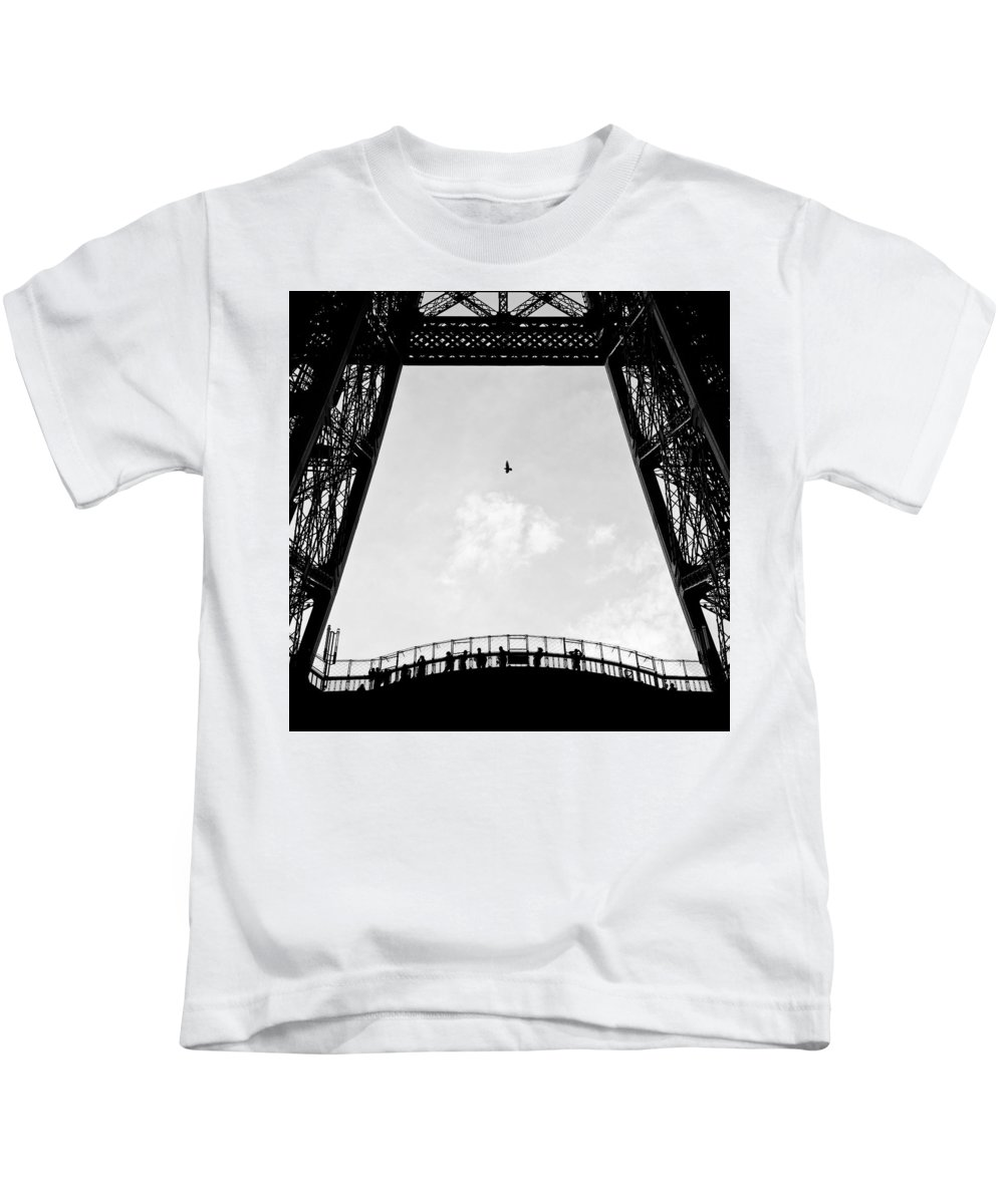 Eiffel Tower Kids T-Shirt featuring the photograph Birds-eye View by Dave Bowman