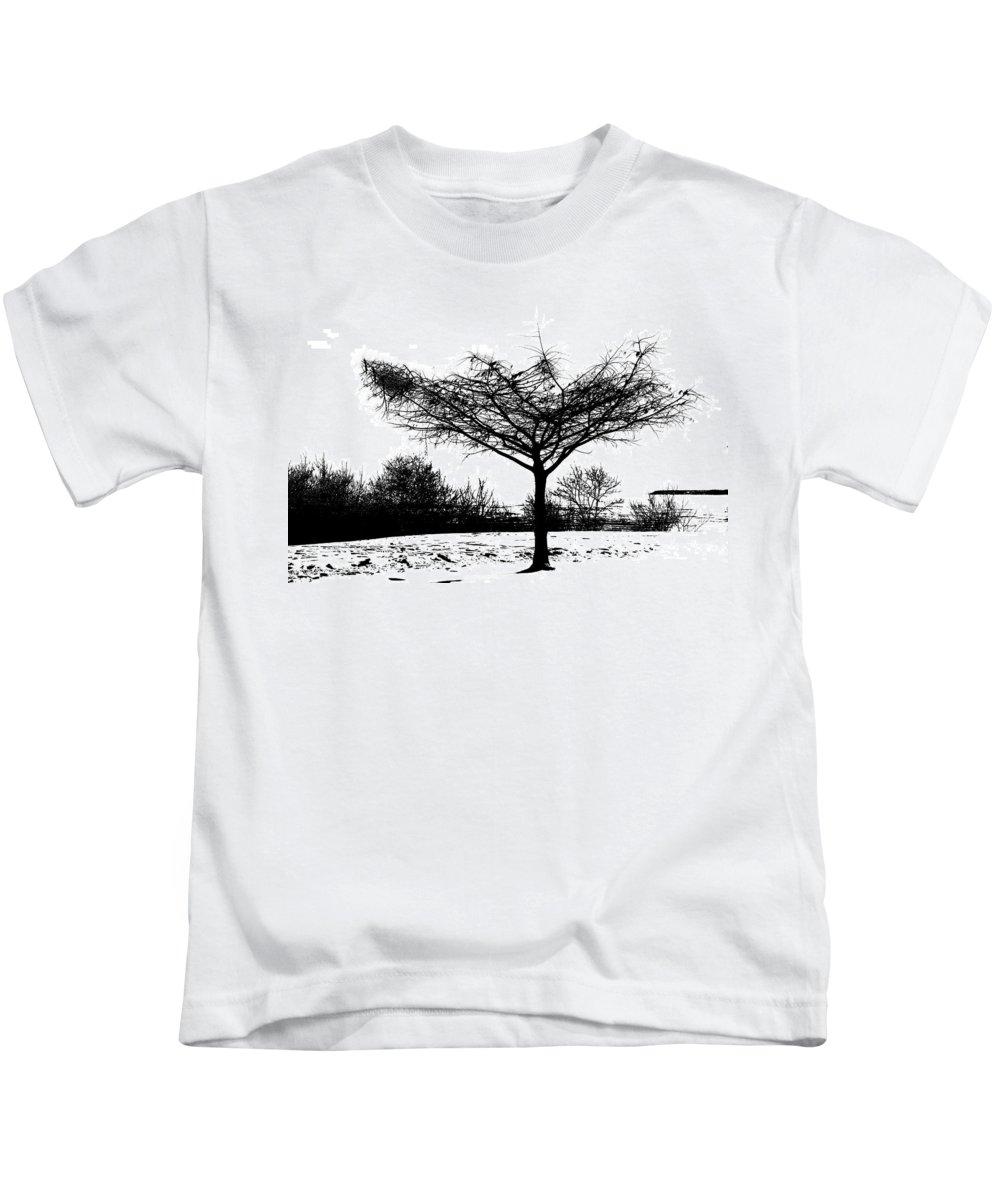 Trees Kids T-Shirt featuring the photograph Black And White by Debbie Nobile