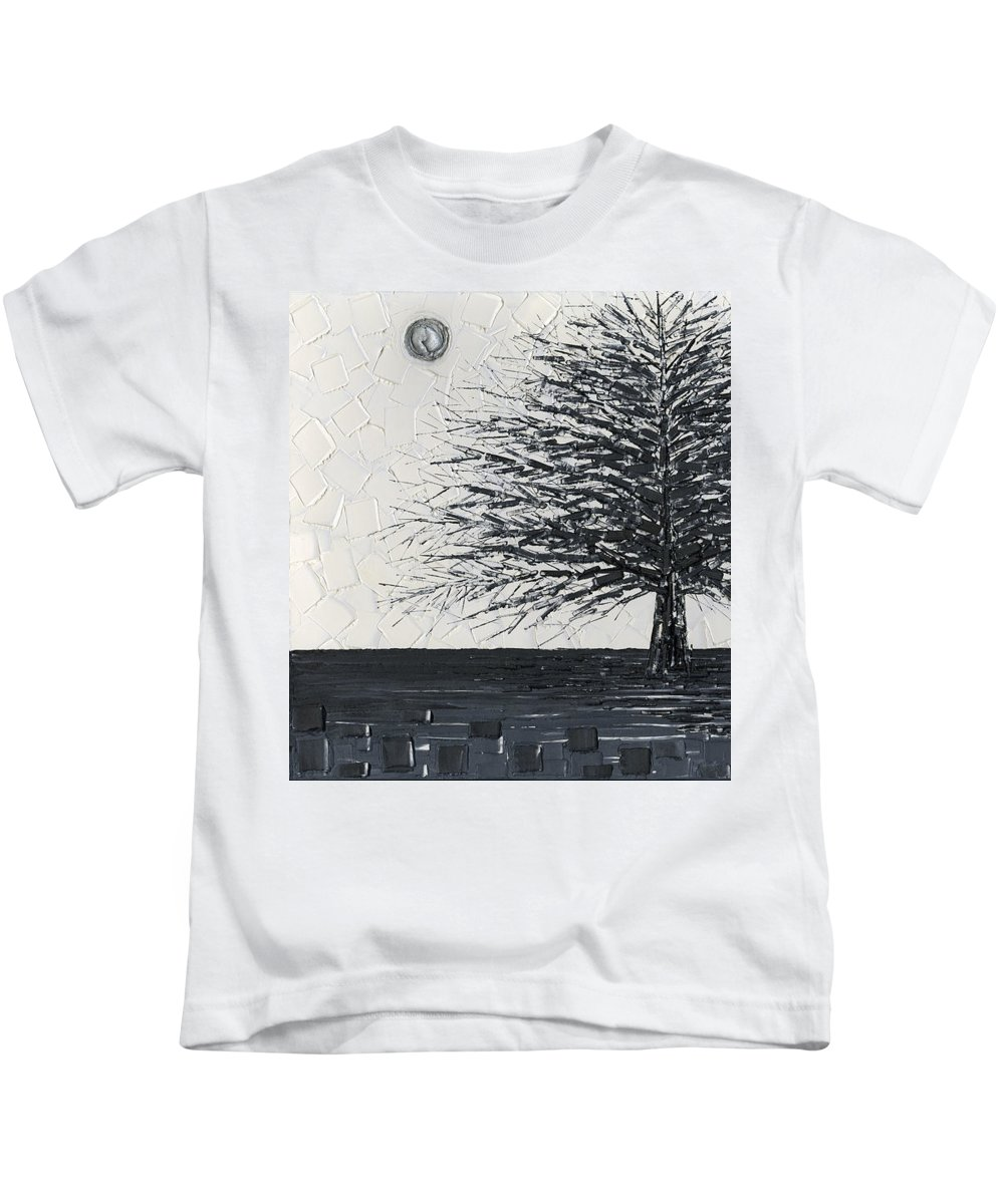 Single Kids T-Shirt featuring the painting Black And White Snow Cold Winter Tree by Susanna Shaposhnikova