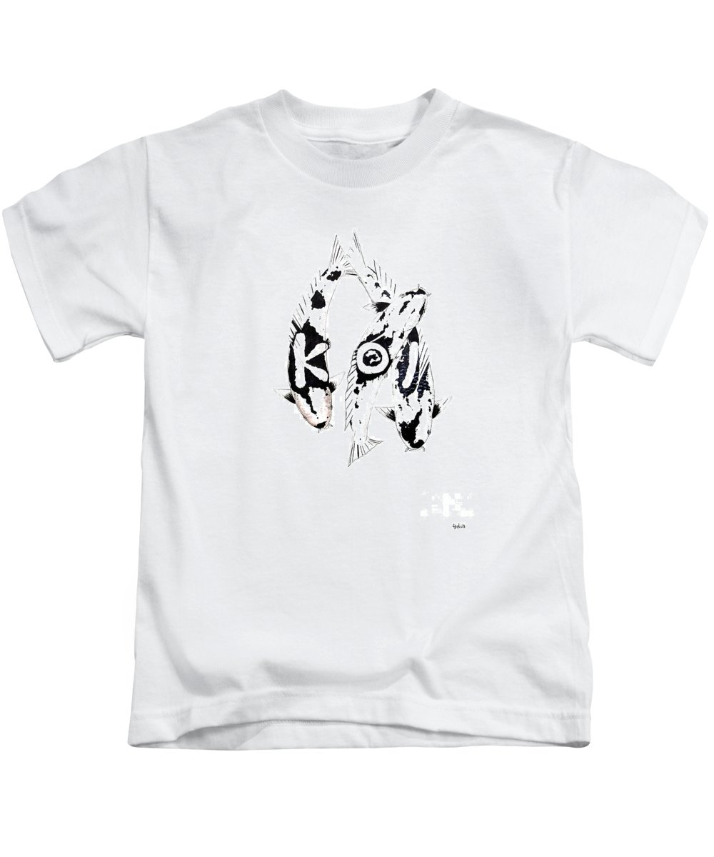 Tattoo Nishikigoi Carp Koi Paintint Art Kichi Gordon Lavender Waddinton Chinese Eight 8 Painting Japanese Koi.utsuri Mono.japan Koi.carp.black And White.kohaku.tancho.ogon.hi. Kids T-Shirt featuring the painting Black And White Trio Of Koi by Gordon Lavender