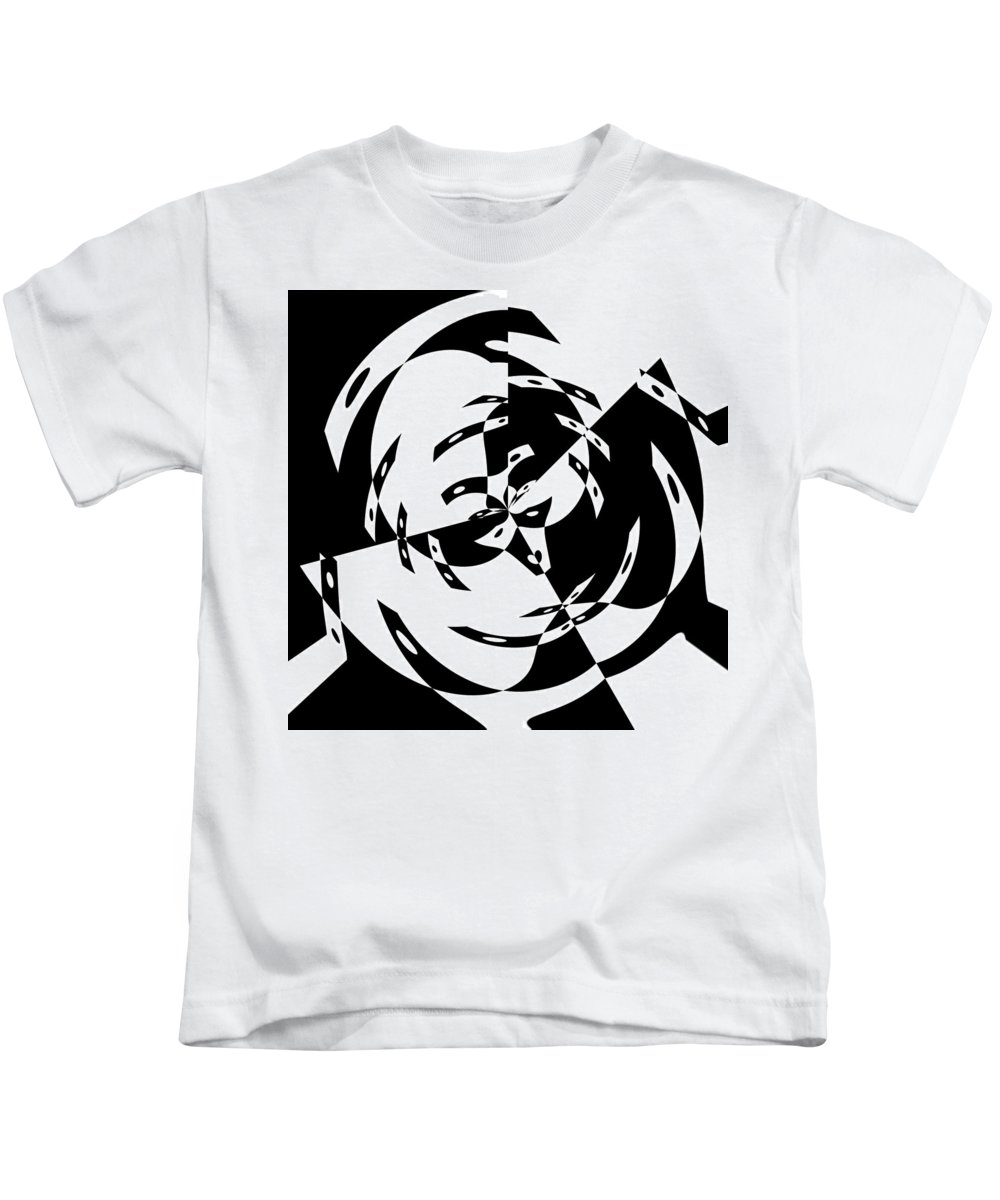 Black White Abstract Domino Gravity Space Expressionism Digital Art Kids T-Shirt featuring the digital art Black Gravity by Steve K
