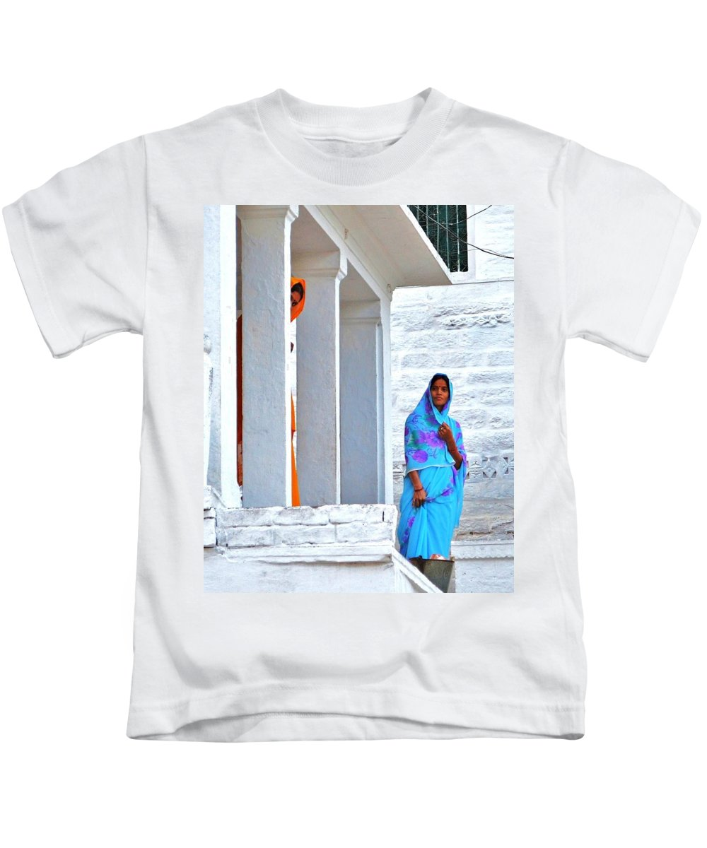 Blue Kids T-Shirt featuring the photograph Blue And Orange - Peeking Out by Kim Bemis