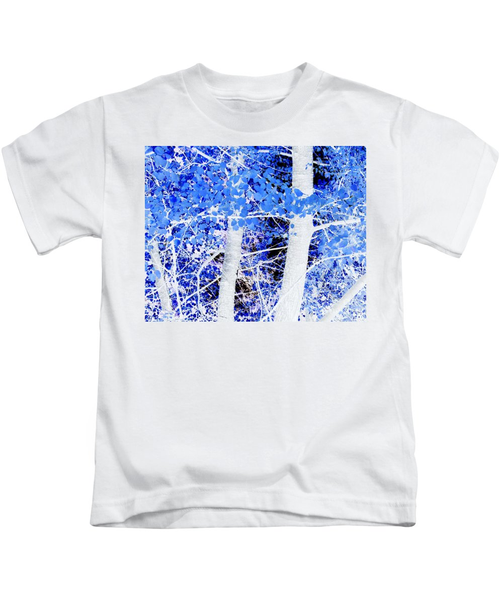 Blue Kids T-Shirt featuring the photograph Blue Birch Trees by Jim And Emily Bush