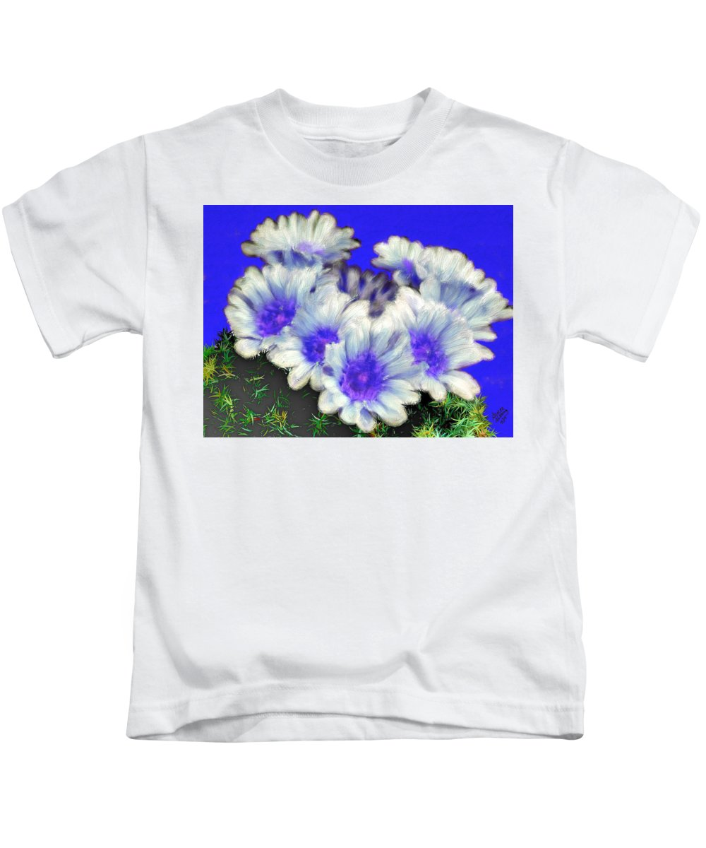 Blue Kids T-Shirt featuring the painting Blue Cactus Flowers by Bruce Nutting
