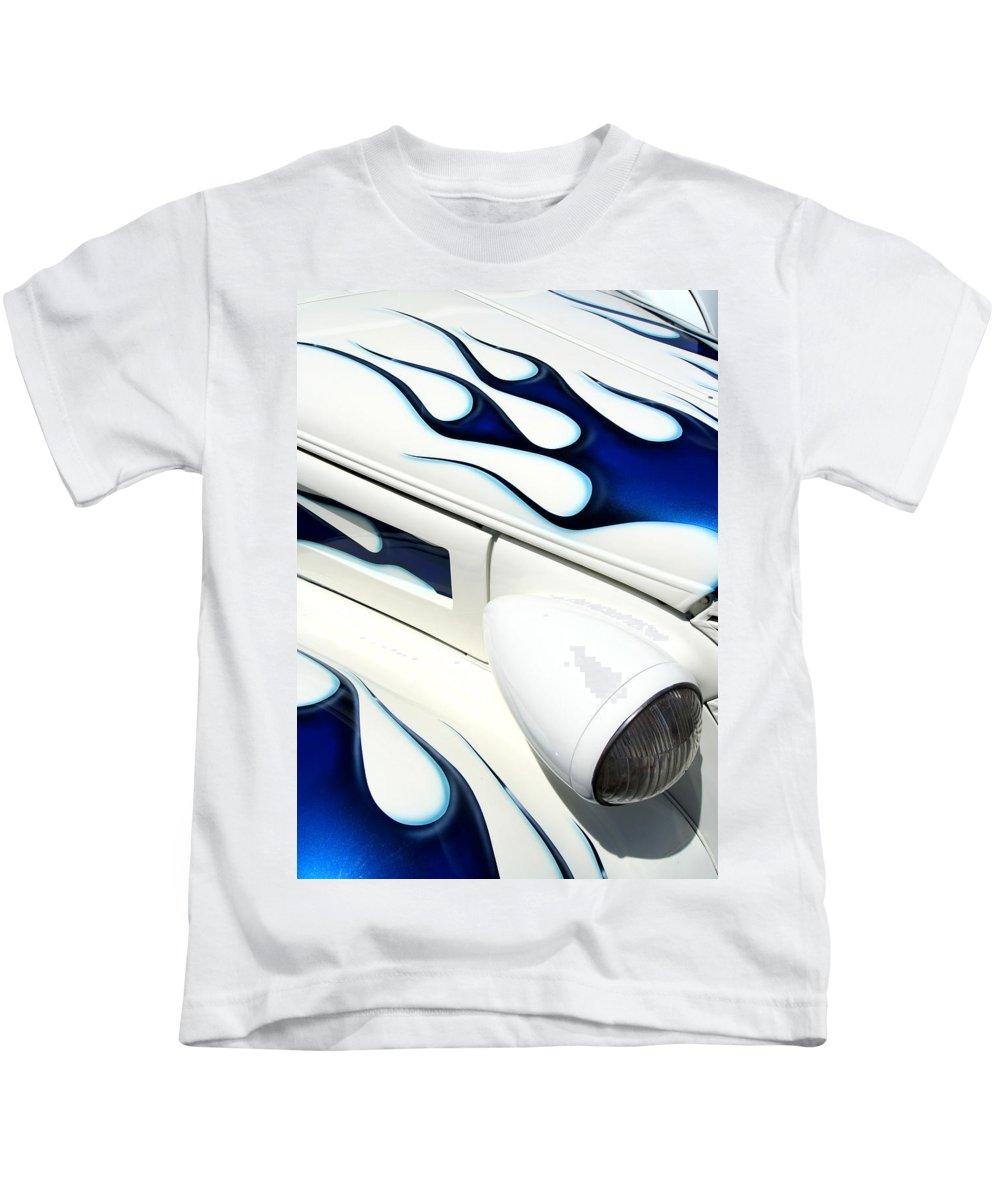 Hot Rod Kids T-Shirt featuring the photograph Blue Fire by Joe Kozlowski
