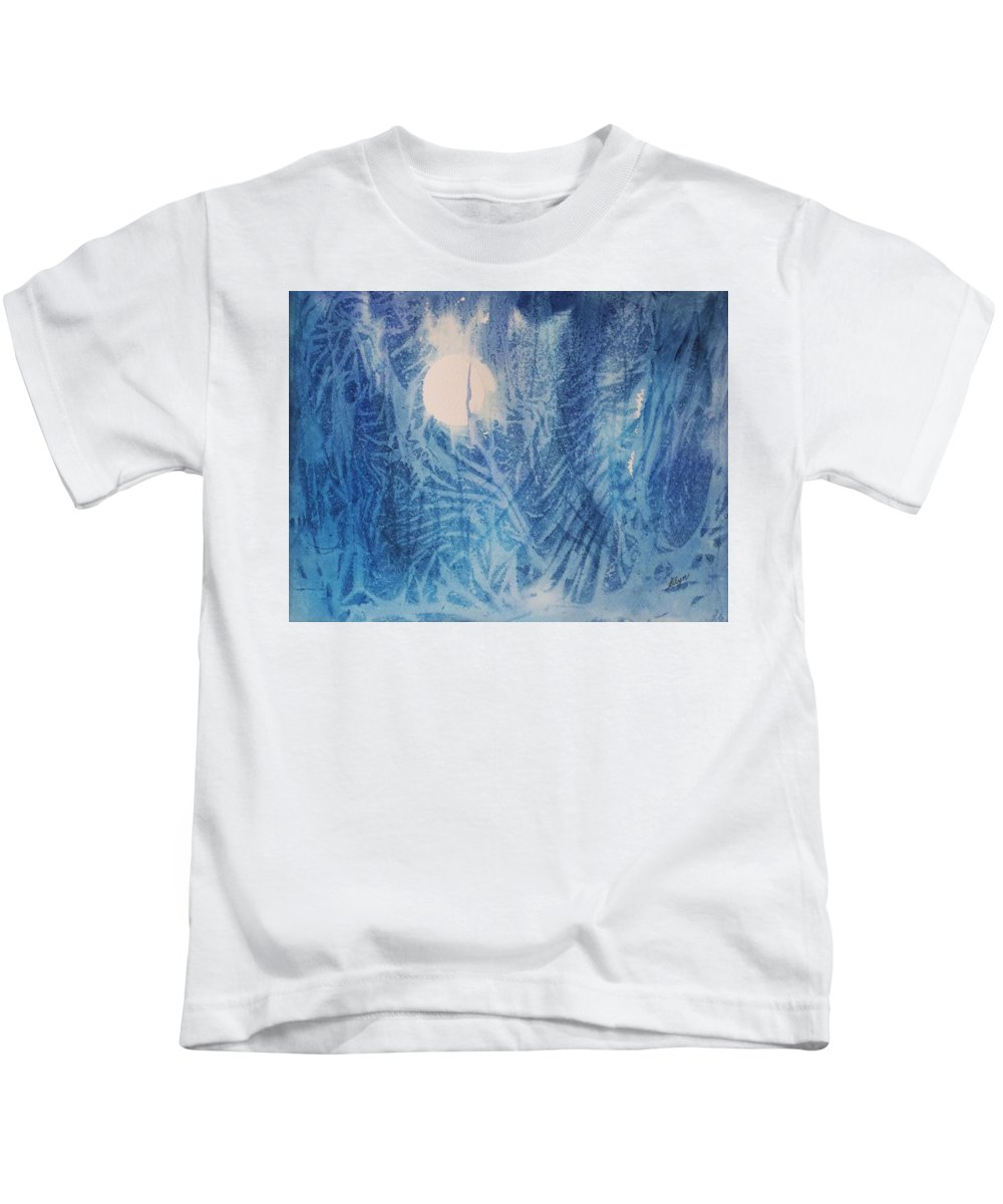 Full Moon Kids T-Shirt featuring the painting Blue Moon by Ellen Levinson