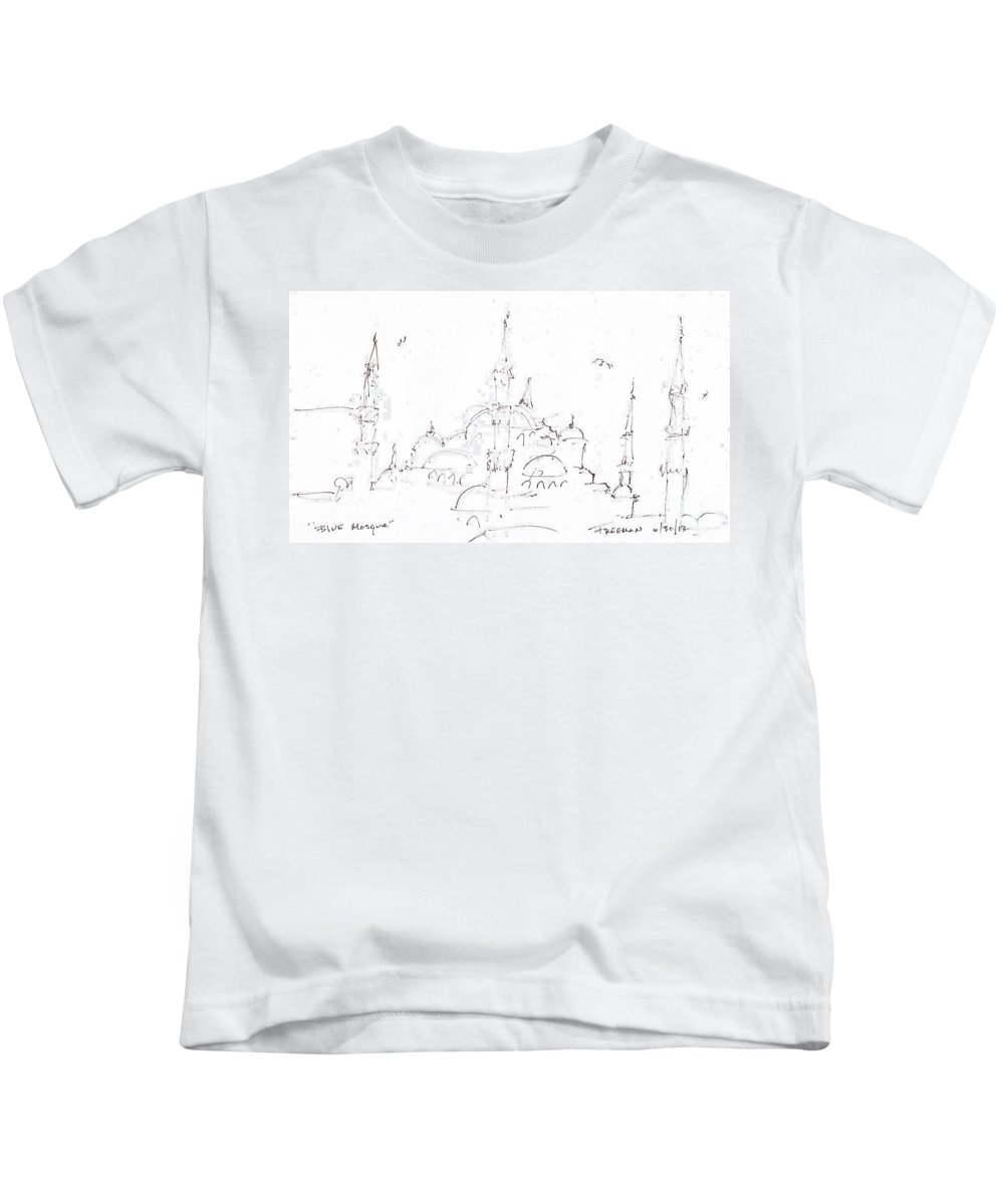 Crystal Cruises Kids T-Shirt featuring the drawing Blue Mosque by Valerie Freeman
