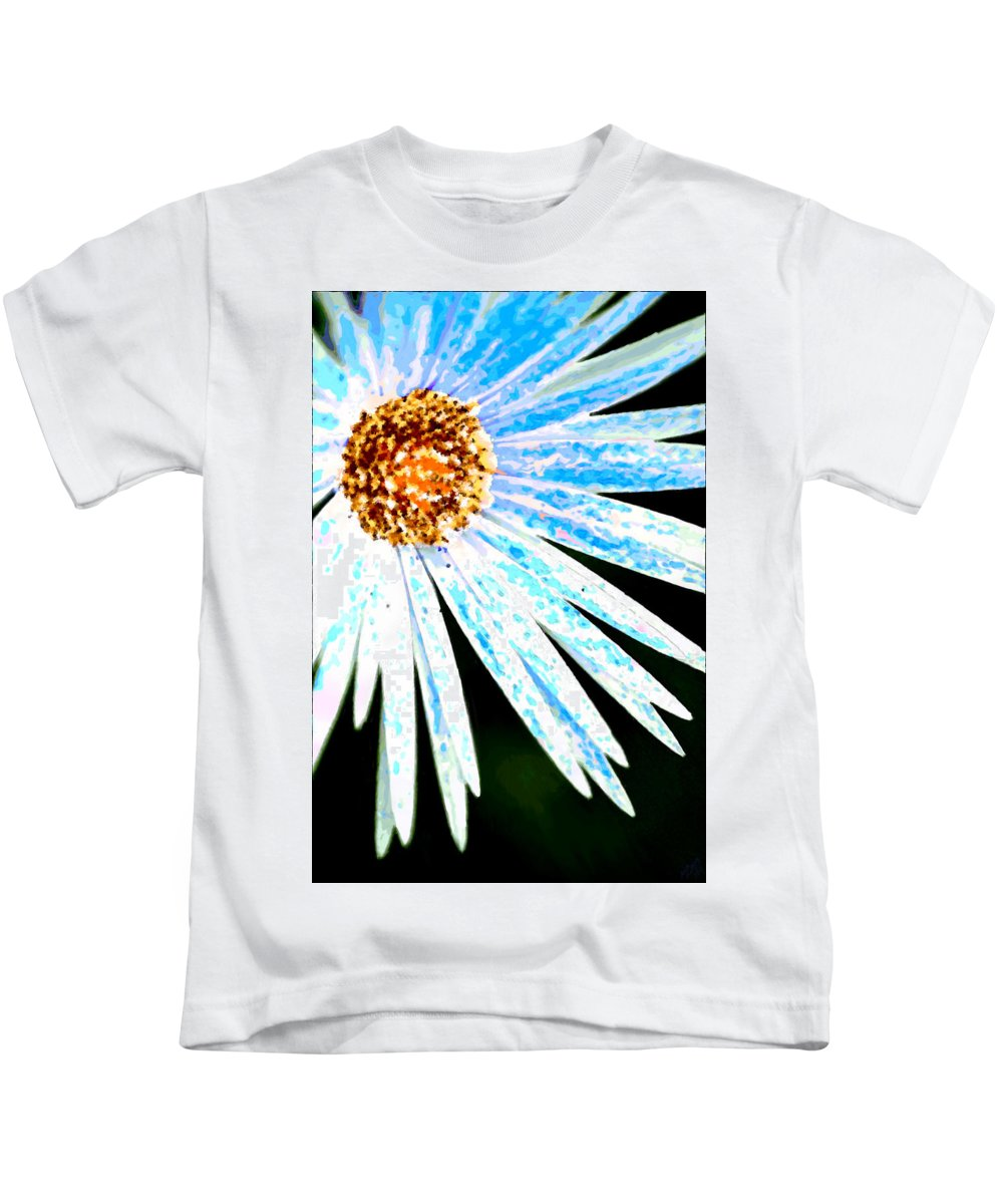 Flower Kids T-Shirt featuring the painting Blue Vexel Flower by Bruce Nutting