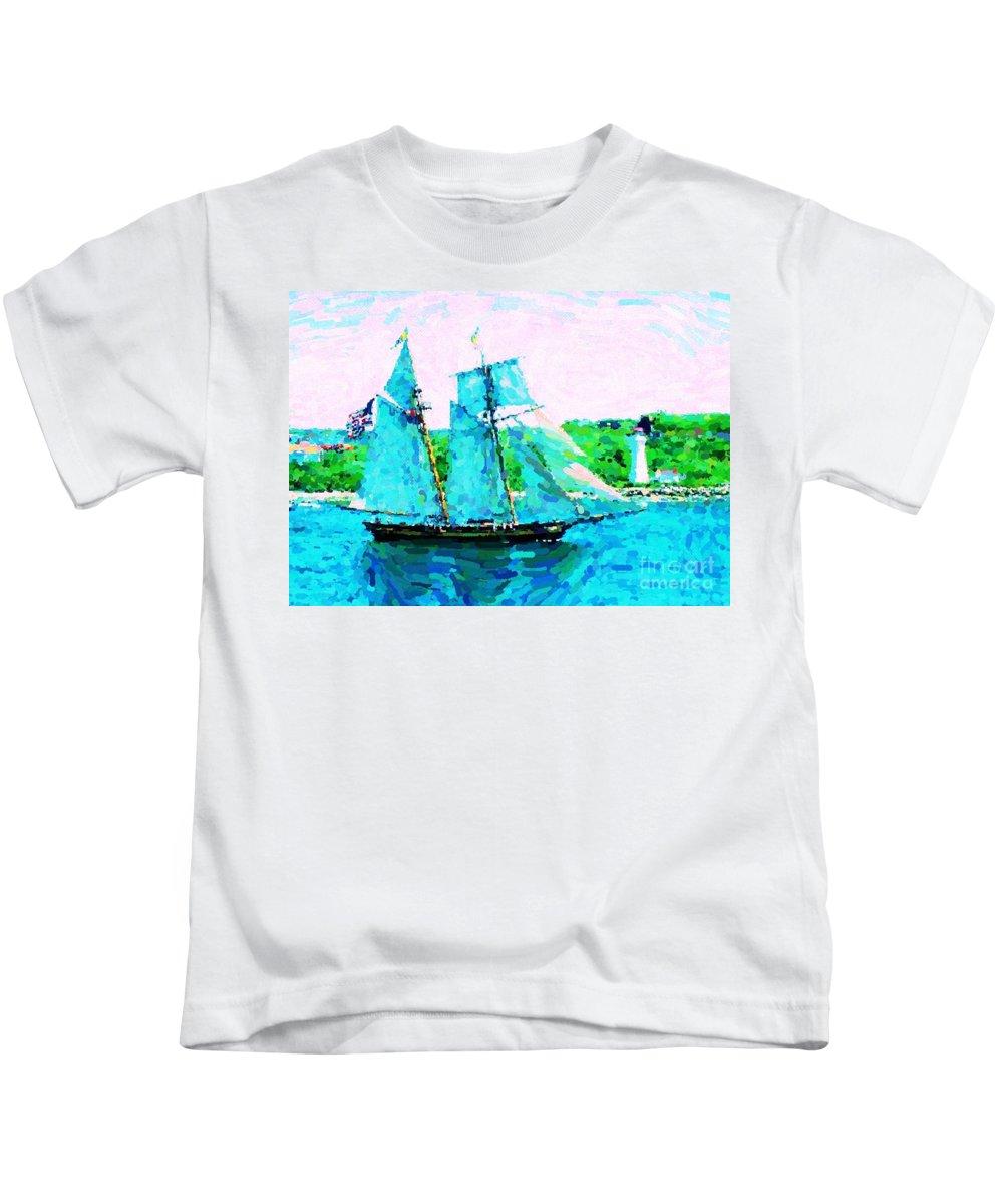Halifax Nova Scotia Kids T-Shirt featuring the digital art Bluenose Schooner In Halifax by John Malone