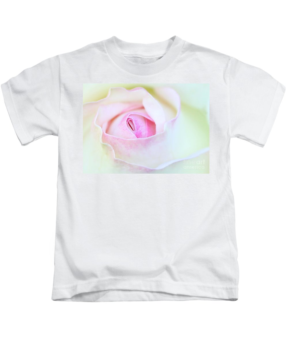 Macro Kids T-Shirt featuring the photograph Blushed Rose by Sabrina L Ryan