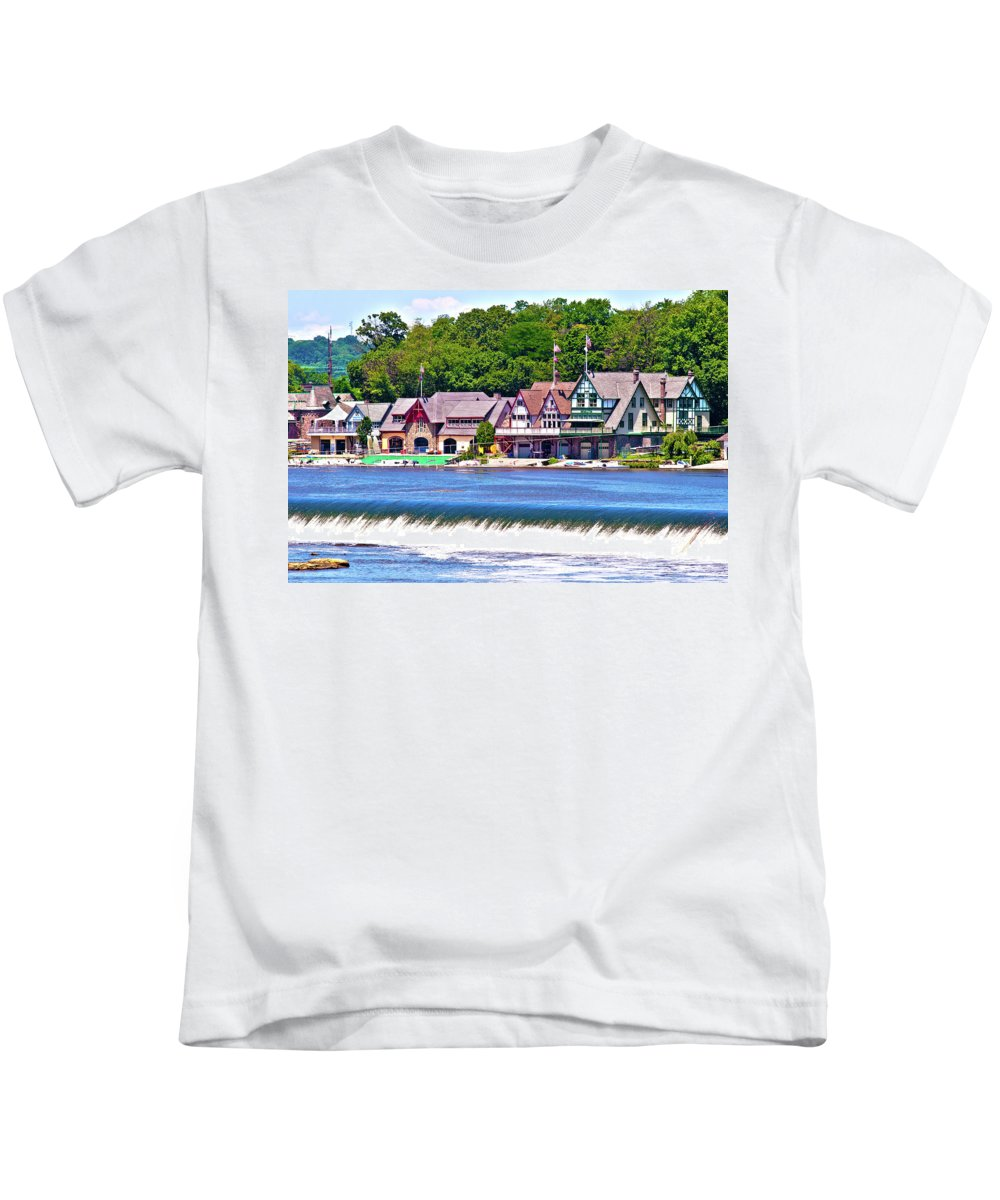 Boathouse Kids T-Shirt featuring the photograph Boathouse Row - Hdr by Lou Ford