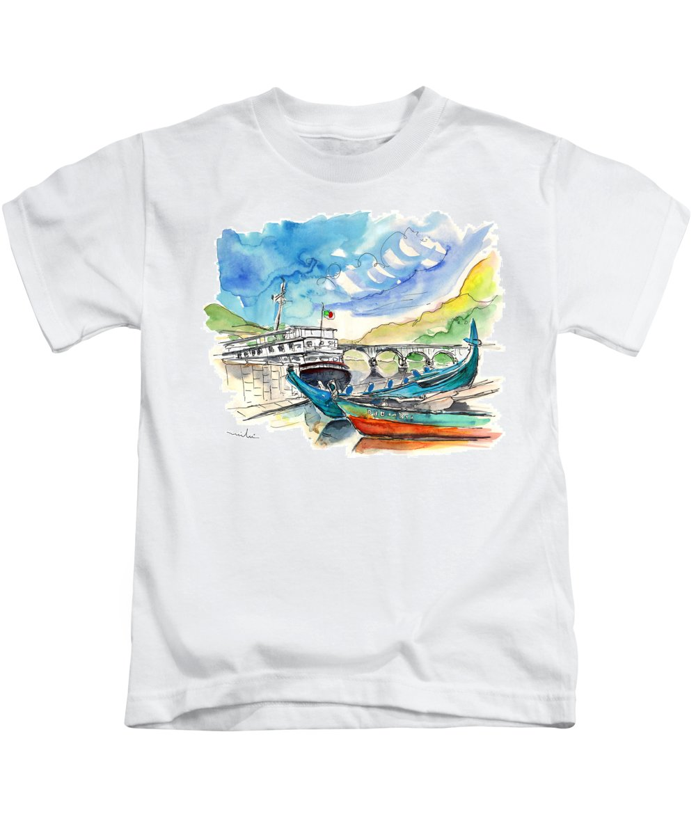 Europe Kids T-Shirt featuring the painting Boats In Barca De Alva 02 by Miki De Goodaboom
