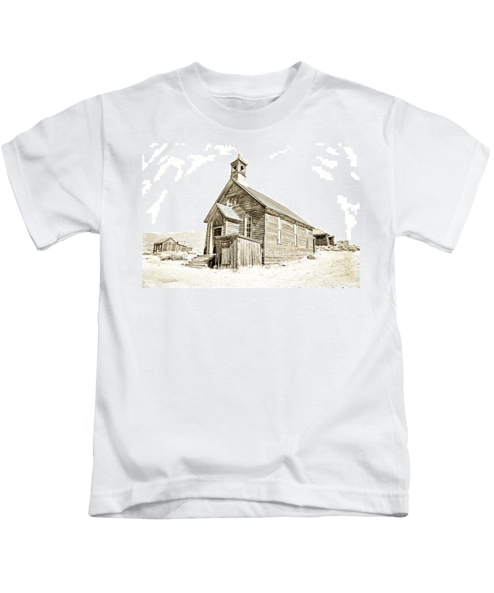 Bodie Ghost Town Kids T-Shirt featuring the photograph Bodie Ghost Town Church by Steve McKinzie