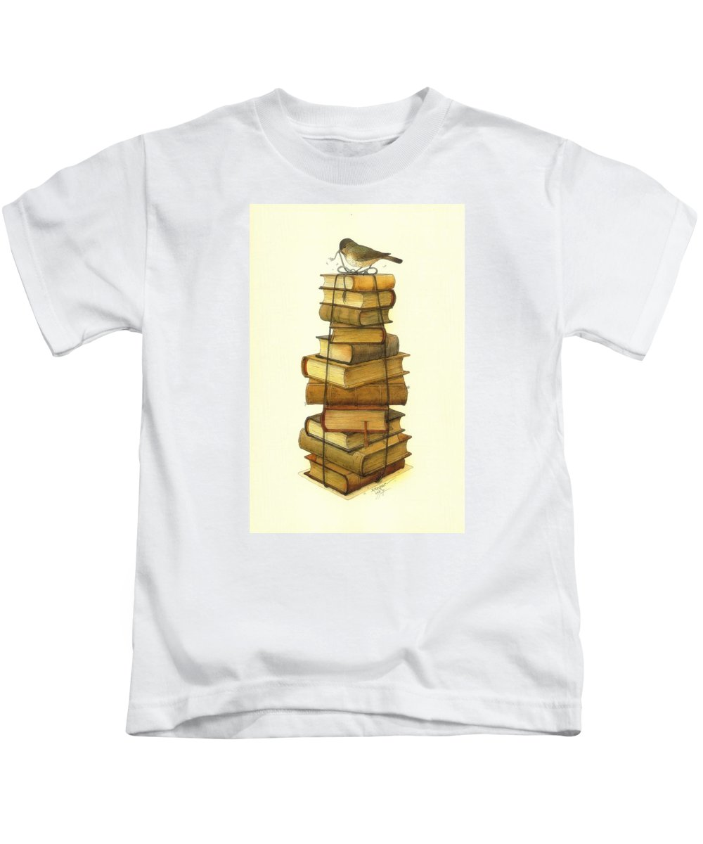 Books Greeting Cards Birds Kids T-Shirt featuring the painting Books And Little Bird by Kestutis Kasparavicius