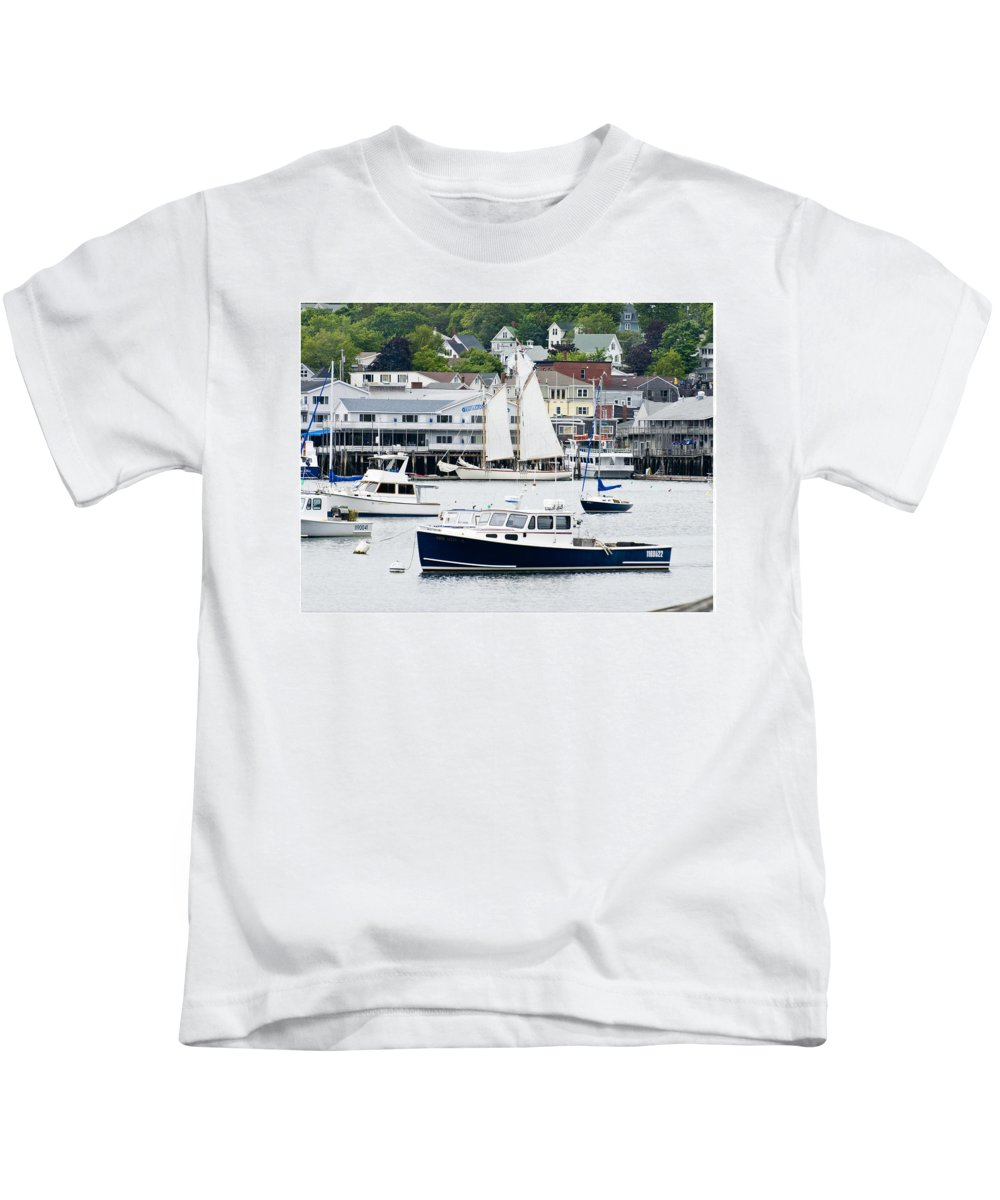 Boats Kids T-Shirt featuring the photograph Boothbay Harbor by Gene Norris