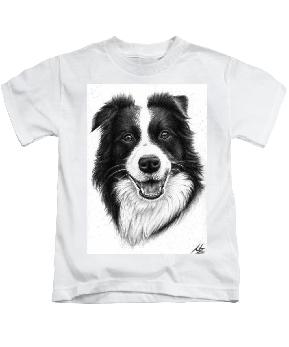 Dog Kids T-Shirt featuring the drawing Border Collie by Nicole Zeug