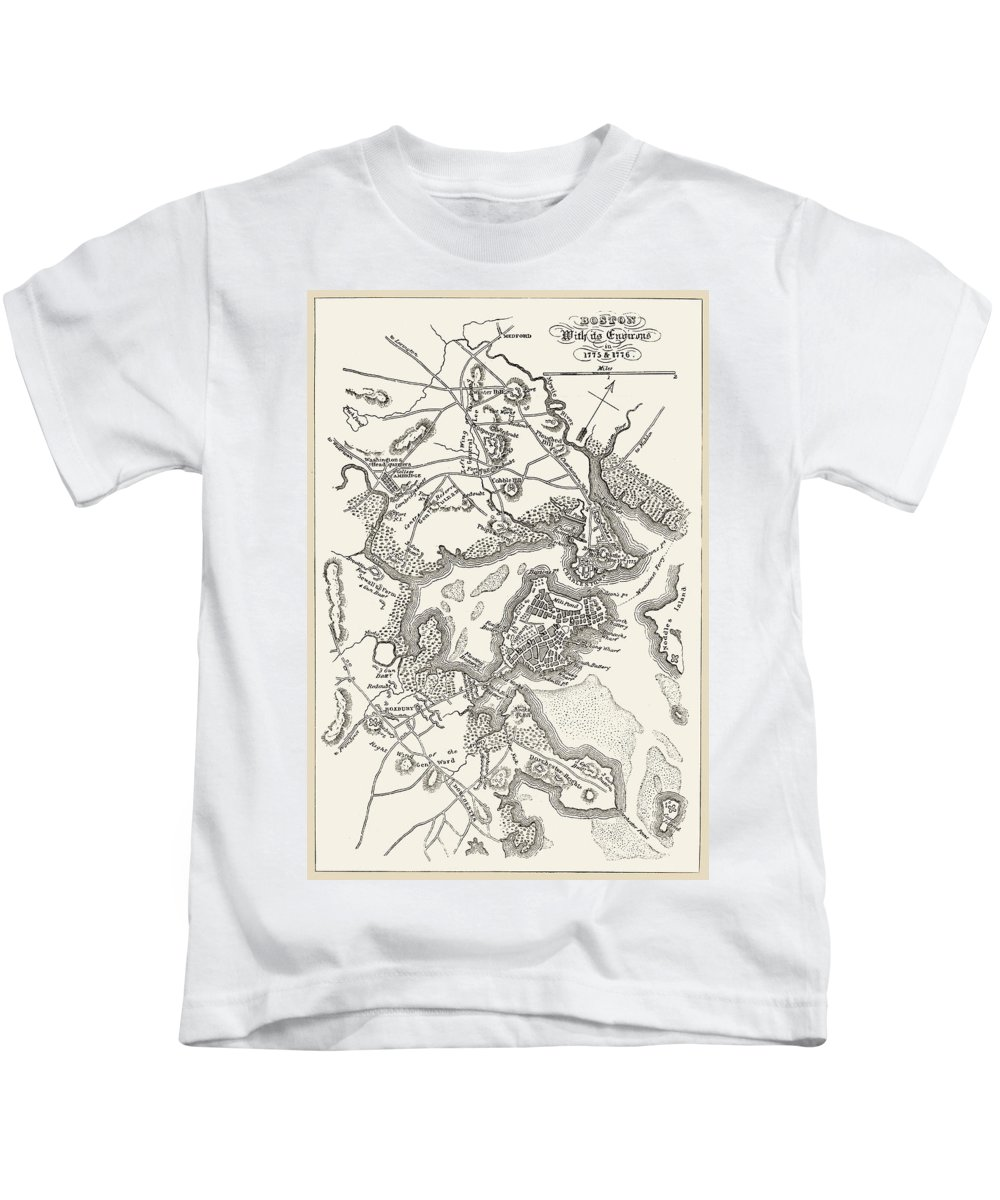 1775 Kids T-Shirt featuring the photograph Boston: Map, 1775-1776 by Granger