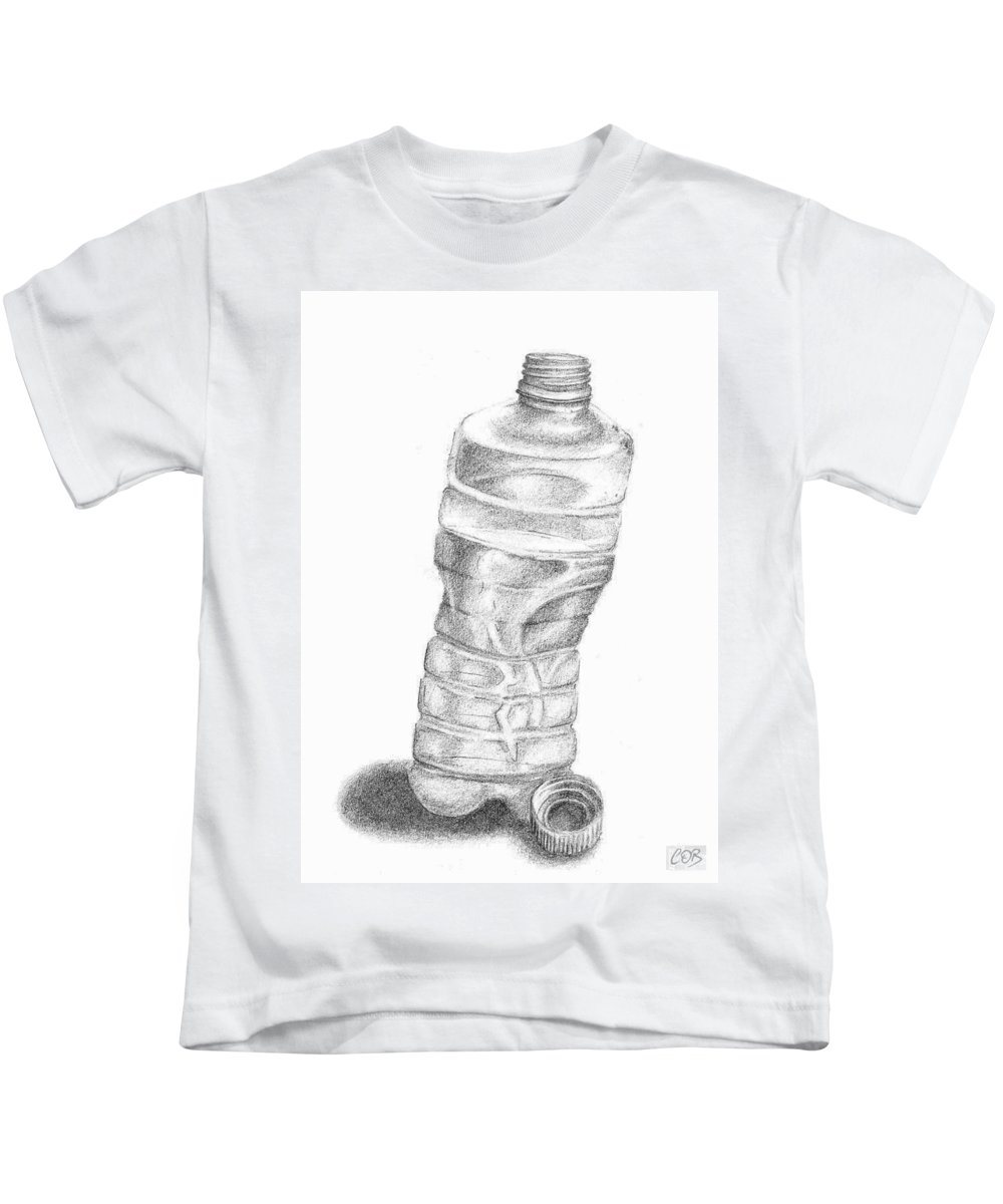 Bottle Kids T-Shirt featuring the drawing Bottle Sketch by Conor O'Brien