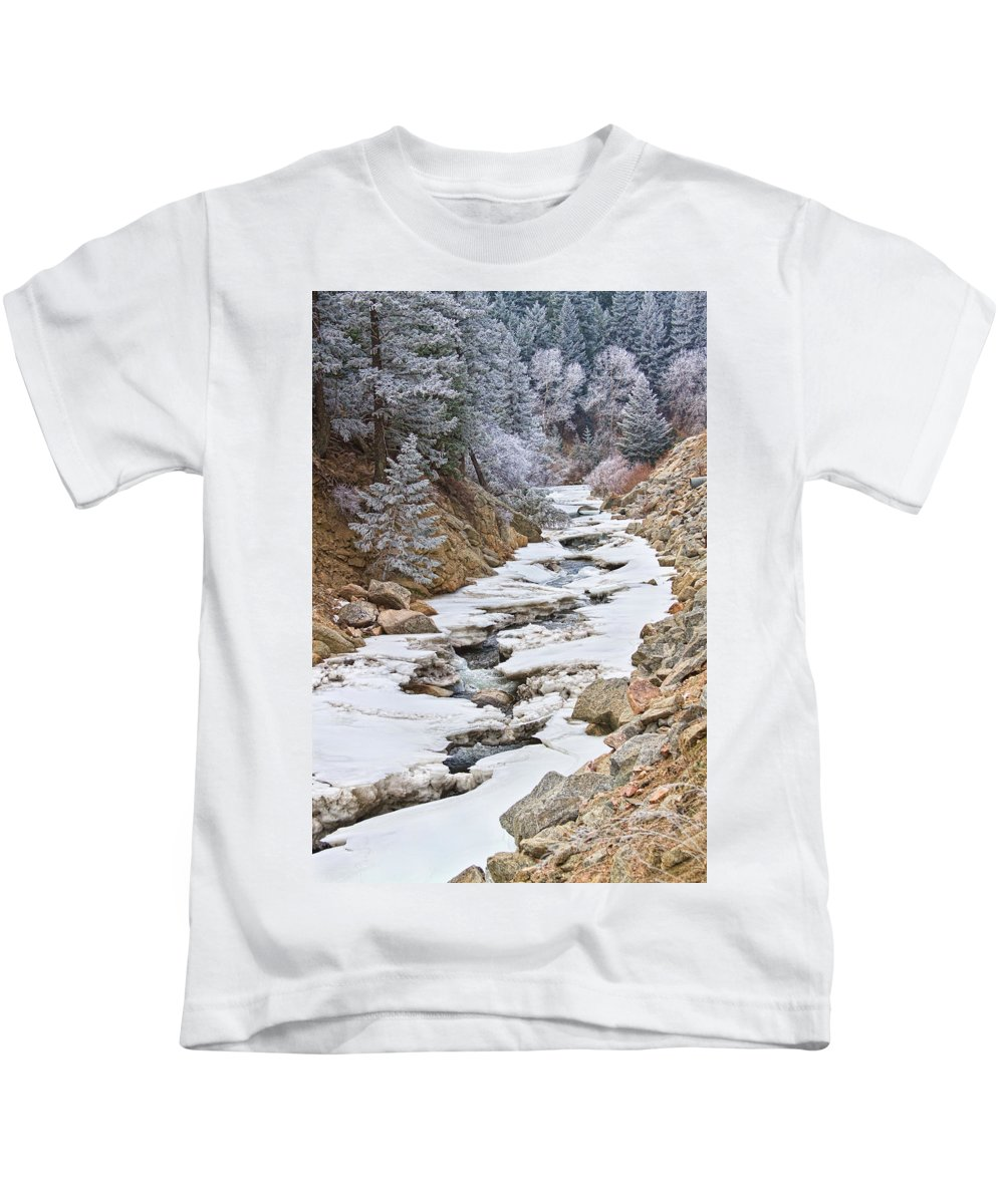 Winter Kids T-Shirt featuring the photograph Boulder Creek Frosted Snowy Portrait View by James BO Insogna
