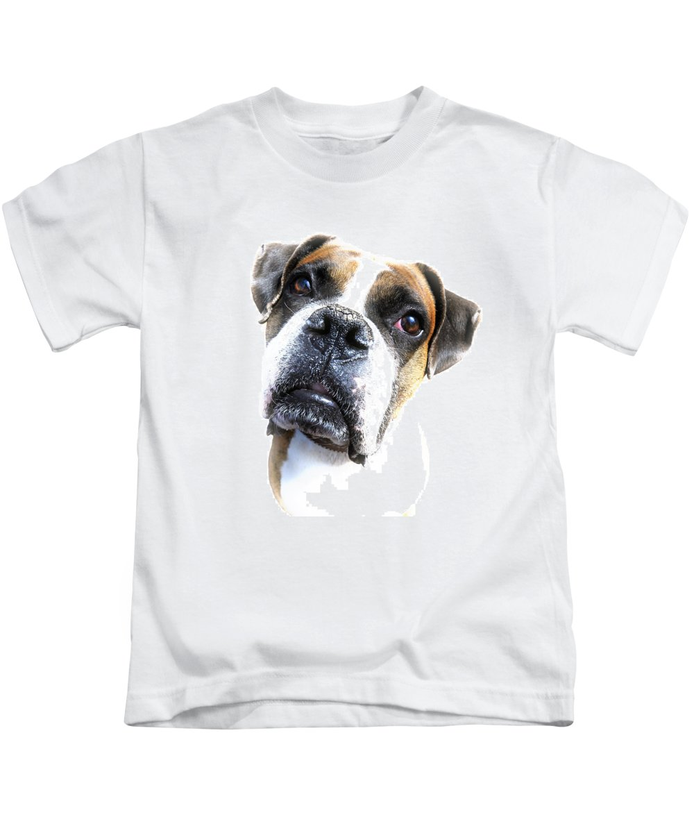 Animal Kids T-Shirt featuring the photograph Boxer Expression by Susan Leggett