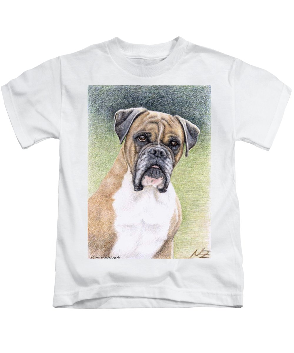 Dog Kids T-Shirt featuring the drawing Boxer Portrait by Nicole Zeug