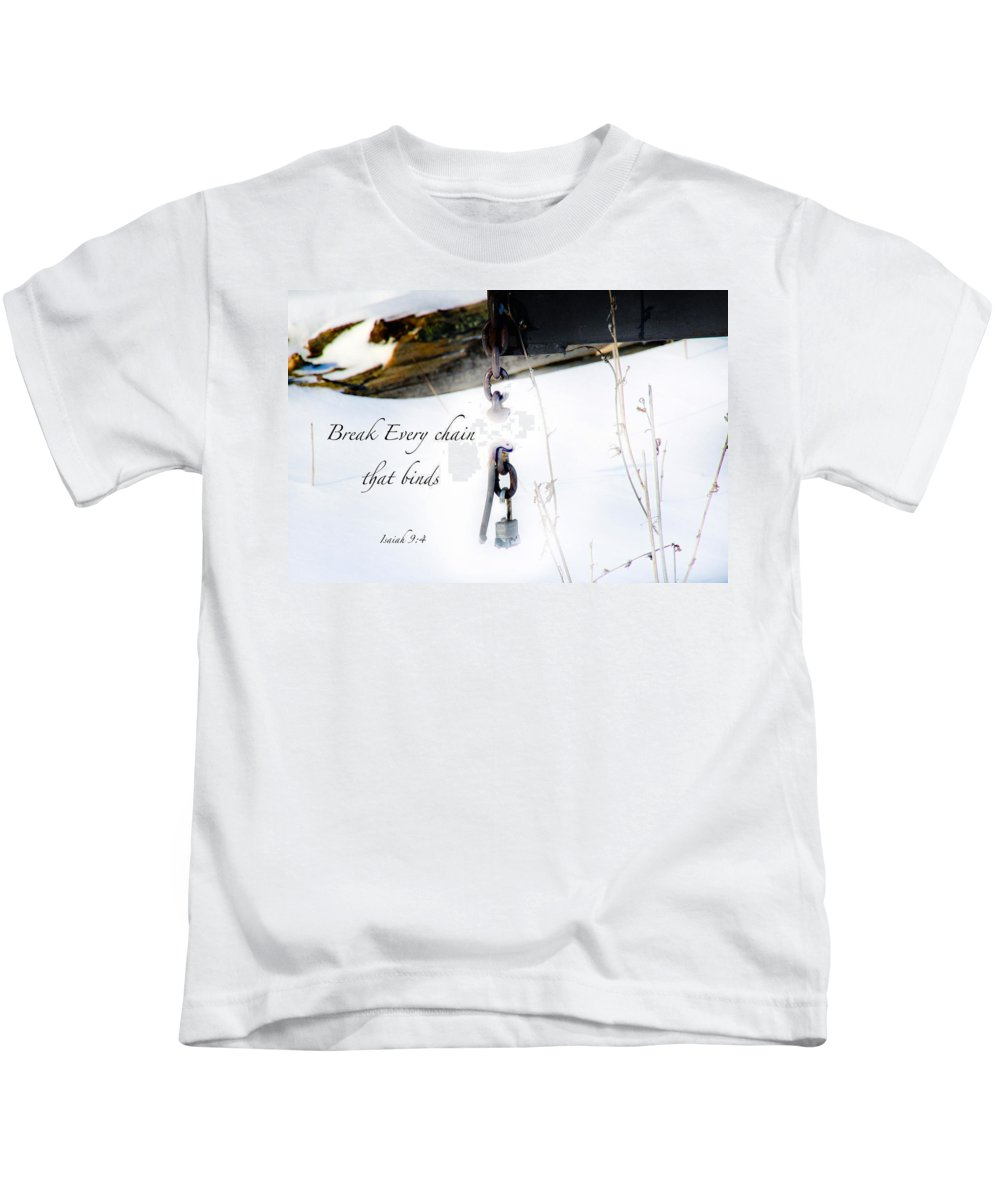 Log Kids T-Shirt featuring the photograph Break Every Chain by Debbie Nobile