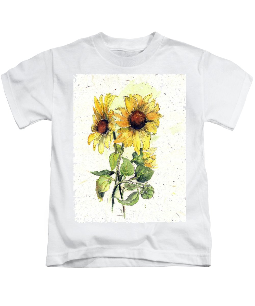 Flowers Kids T-Shirt featuring the painting Roadside Treasures by Maria Hunt