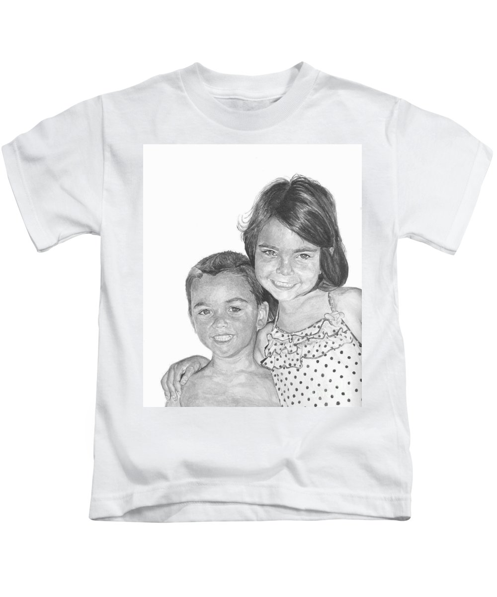 Brother Kids T-Shirt featuring the painting Brooke And Carter by Tamir Barkan
