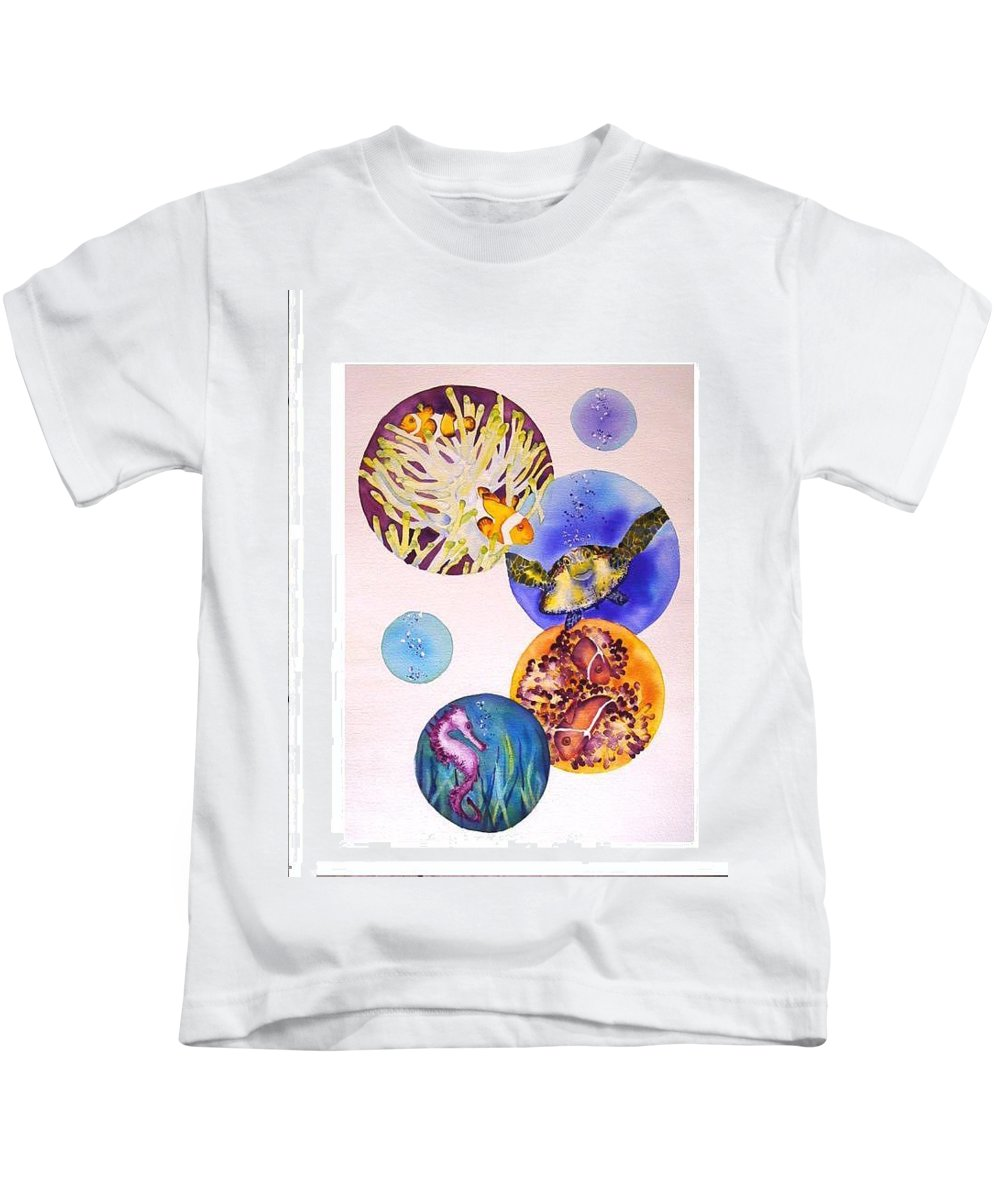 Kids T-Shirt featuring the painting Bubbles by Yvonne Ankerman