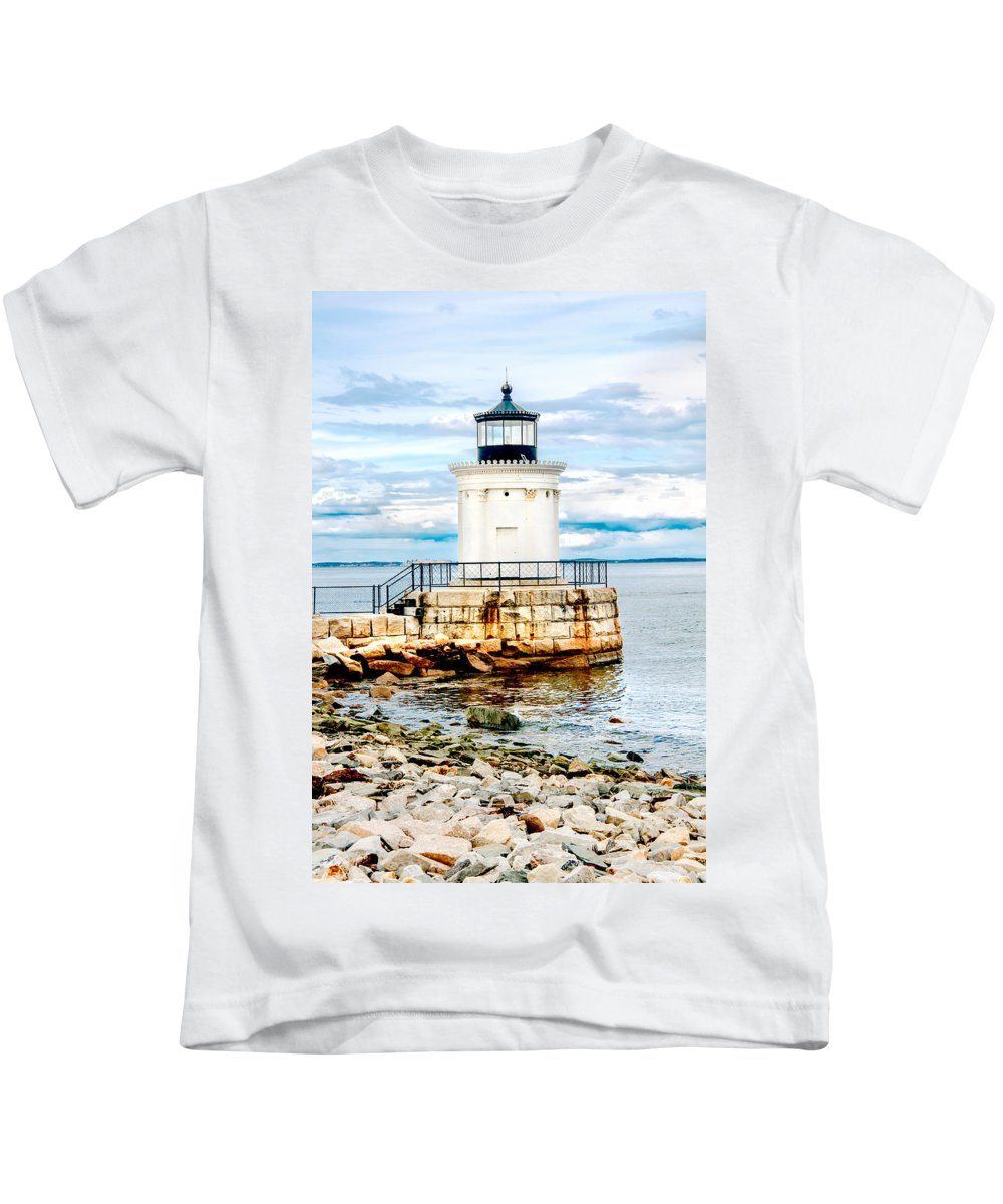 Mountains Kids T-Shirt featuring the photograph Bug Light Study by Greg Fortier
