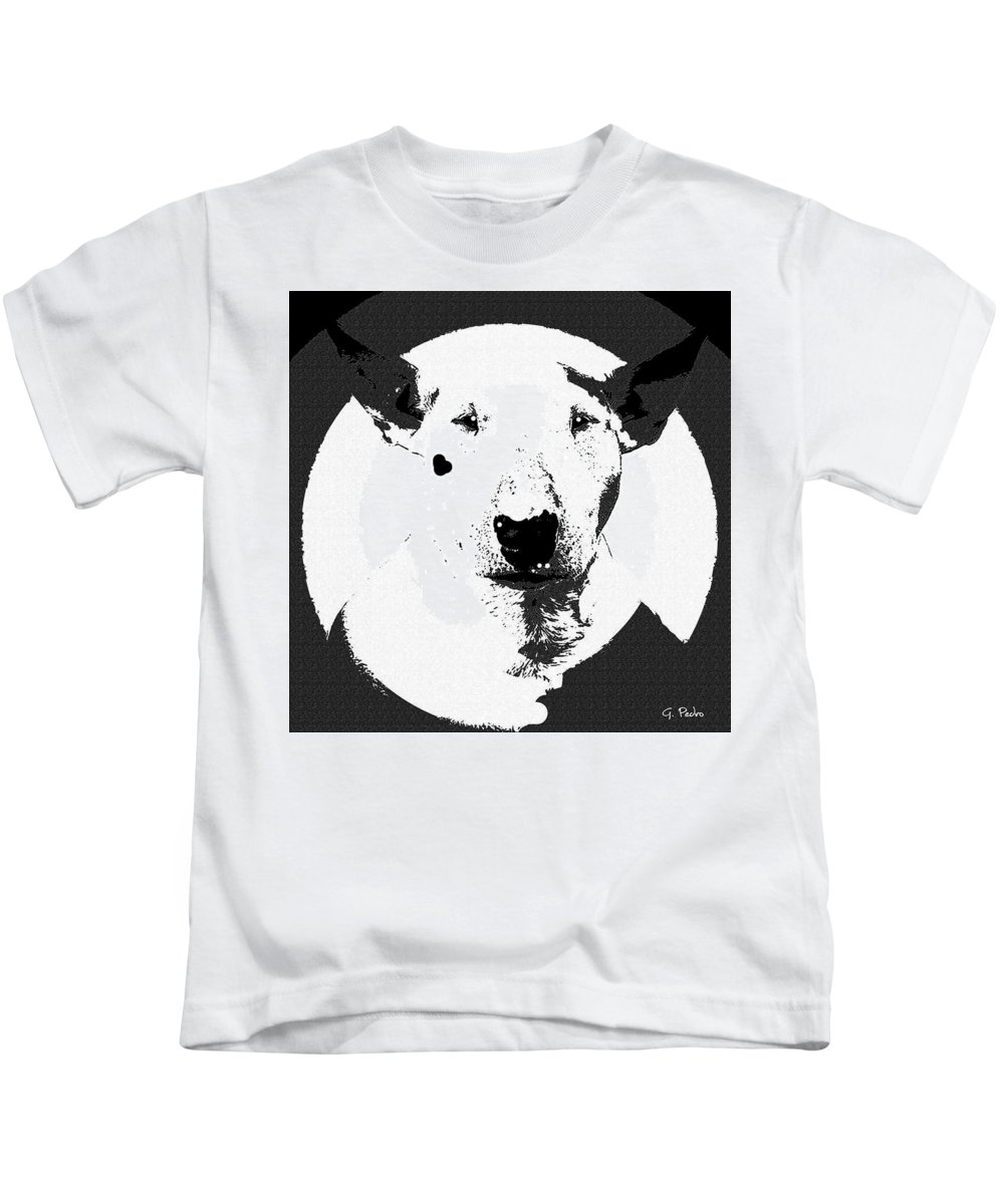 Dog Kids T-Shirt featuring the painting Bull Terrier Graphic 6 by George Pedro